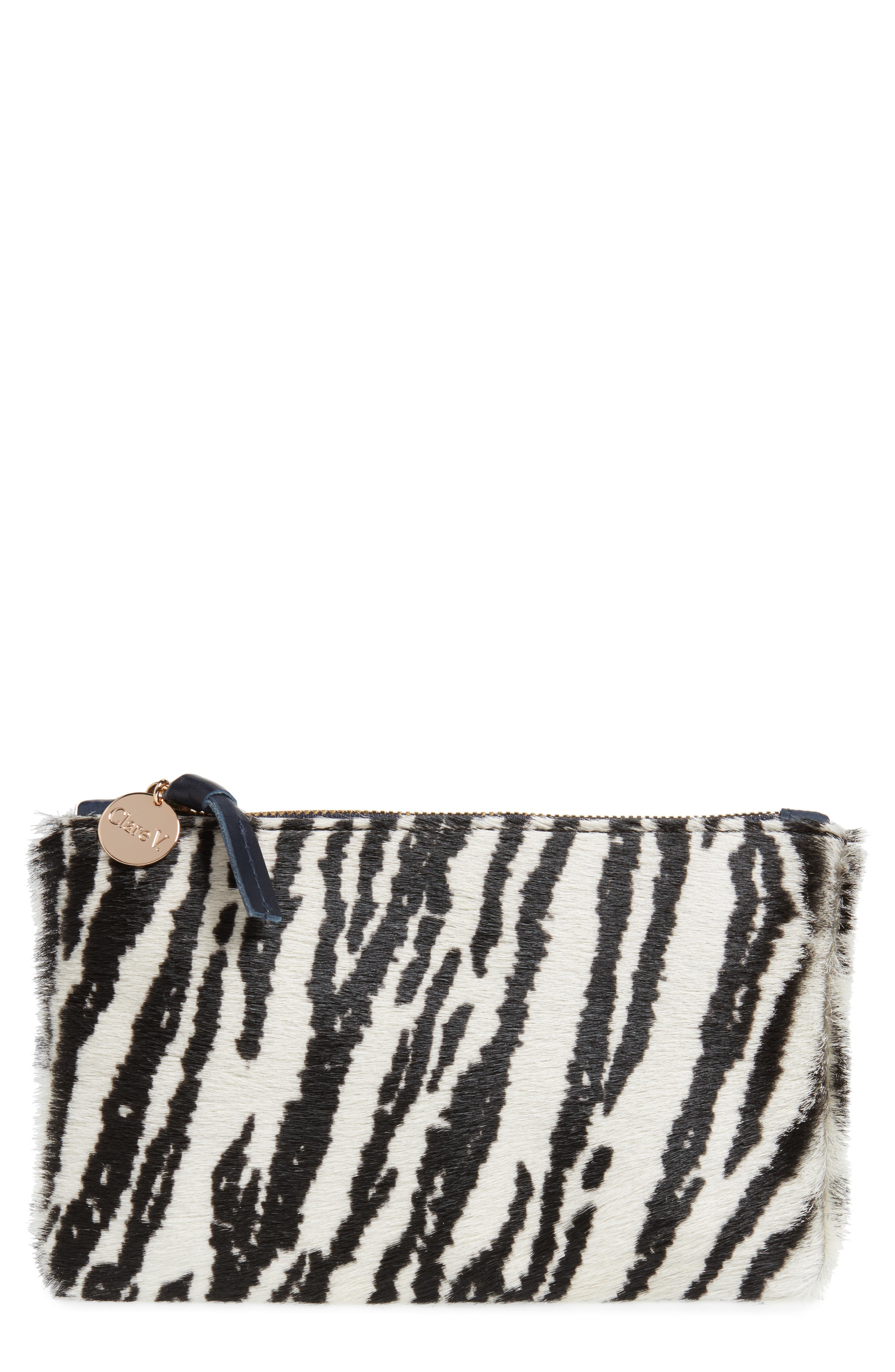 Zebra Print Genuine Calf Hair Pouch,                         Main,                         color, 900