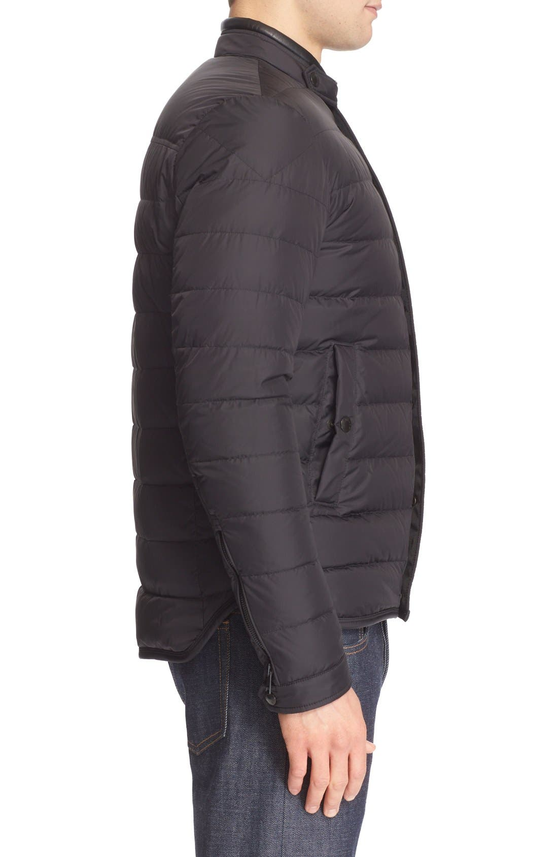 'Hanriot' Leather Trim Quilted Down Moto Jacket,                             Alternate thumbnail 3, color,                             001