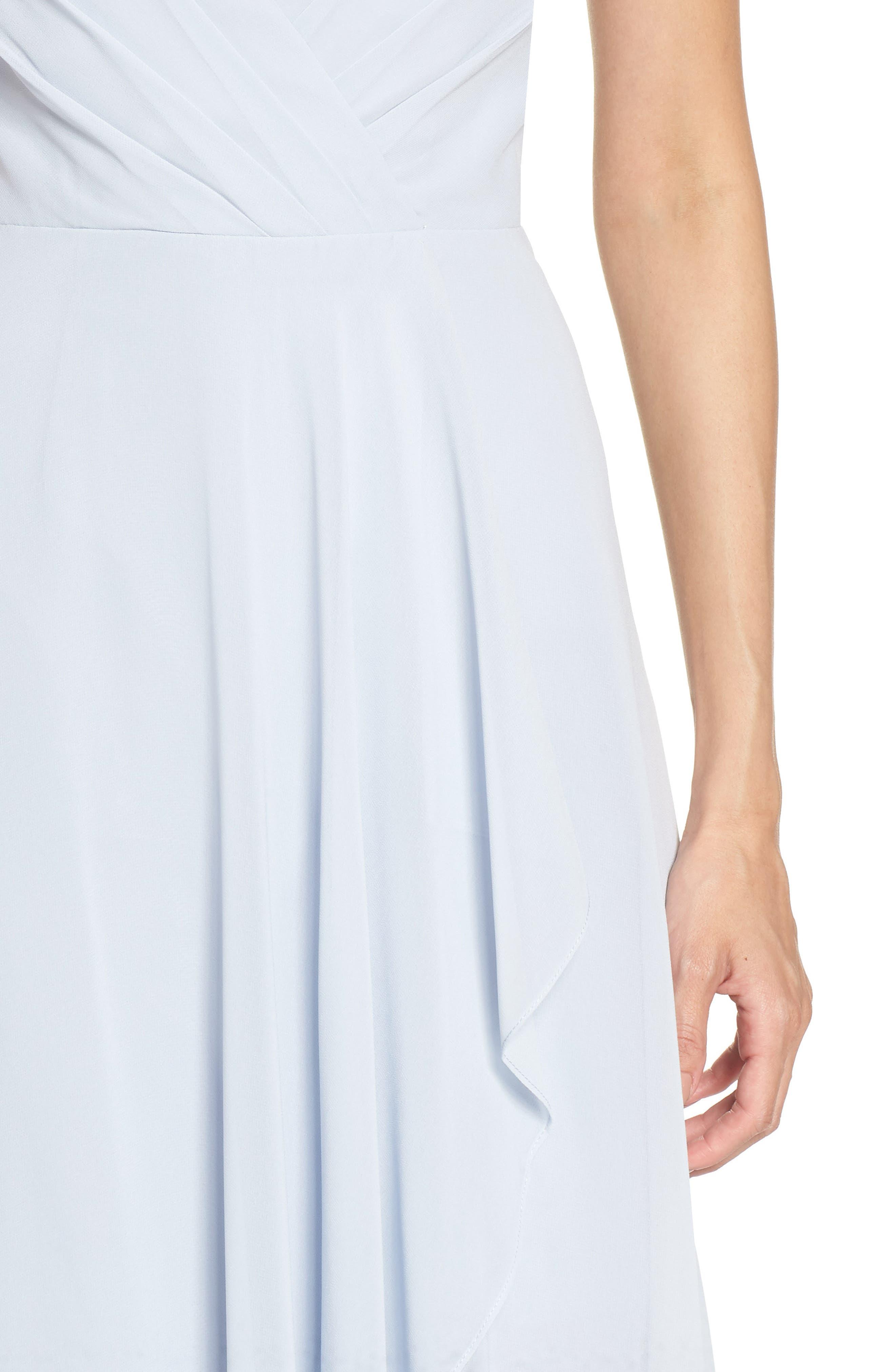 JENNY YOO, Farrah Ruffle Chiffon Gown, Alternate thumbnail 5, color, WHISPER BLUE
