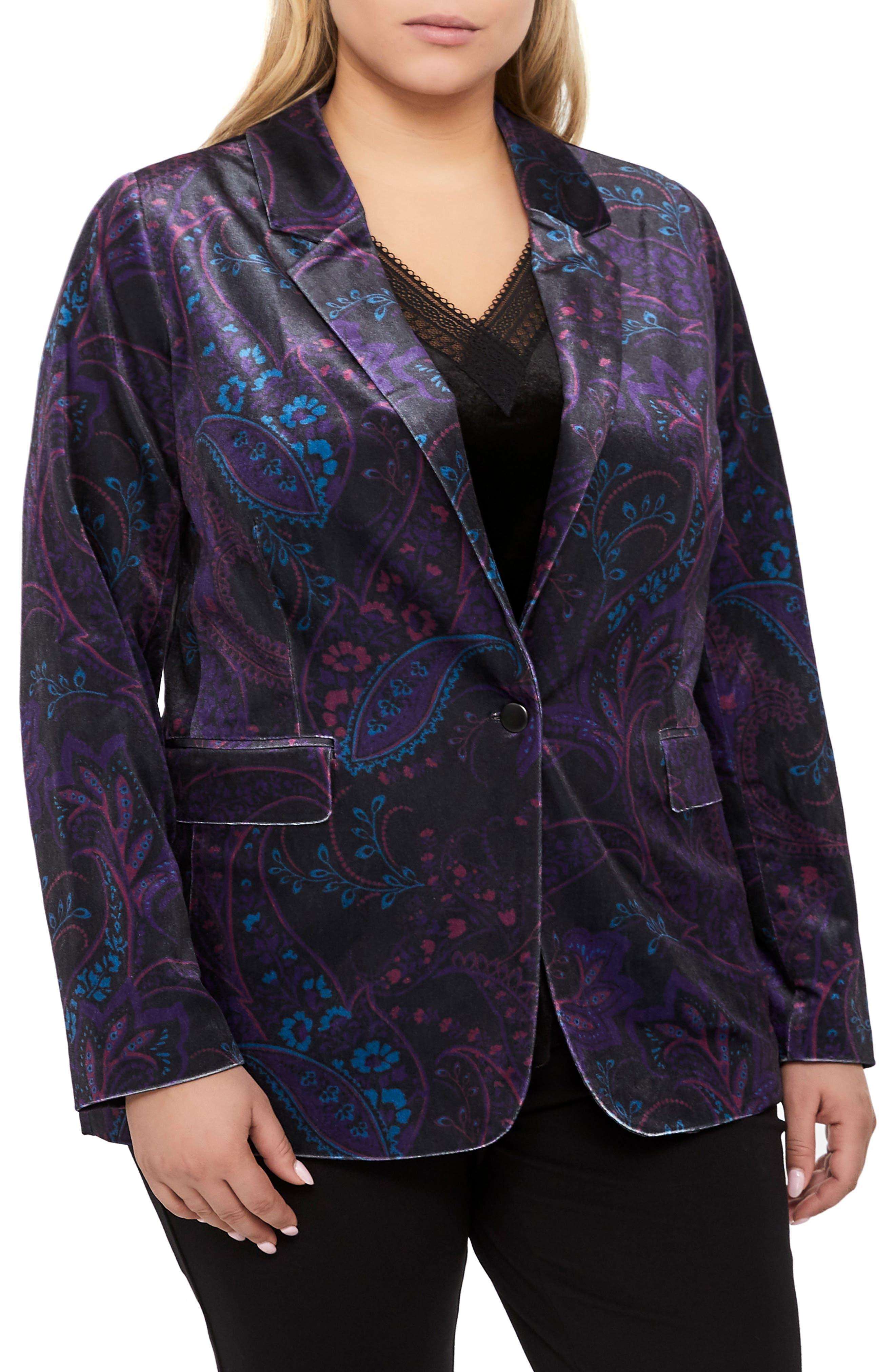 MICHEL STUDIO Tapestry Pattern Stretch Velvet Blazer, Main, color, BLACK