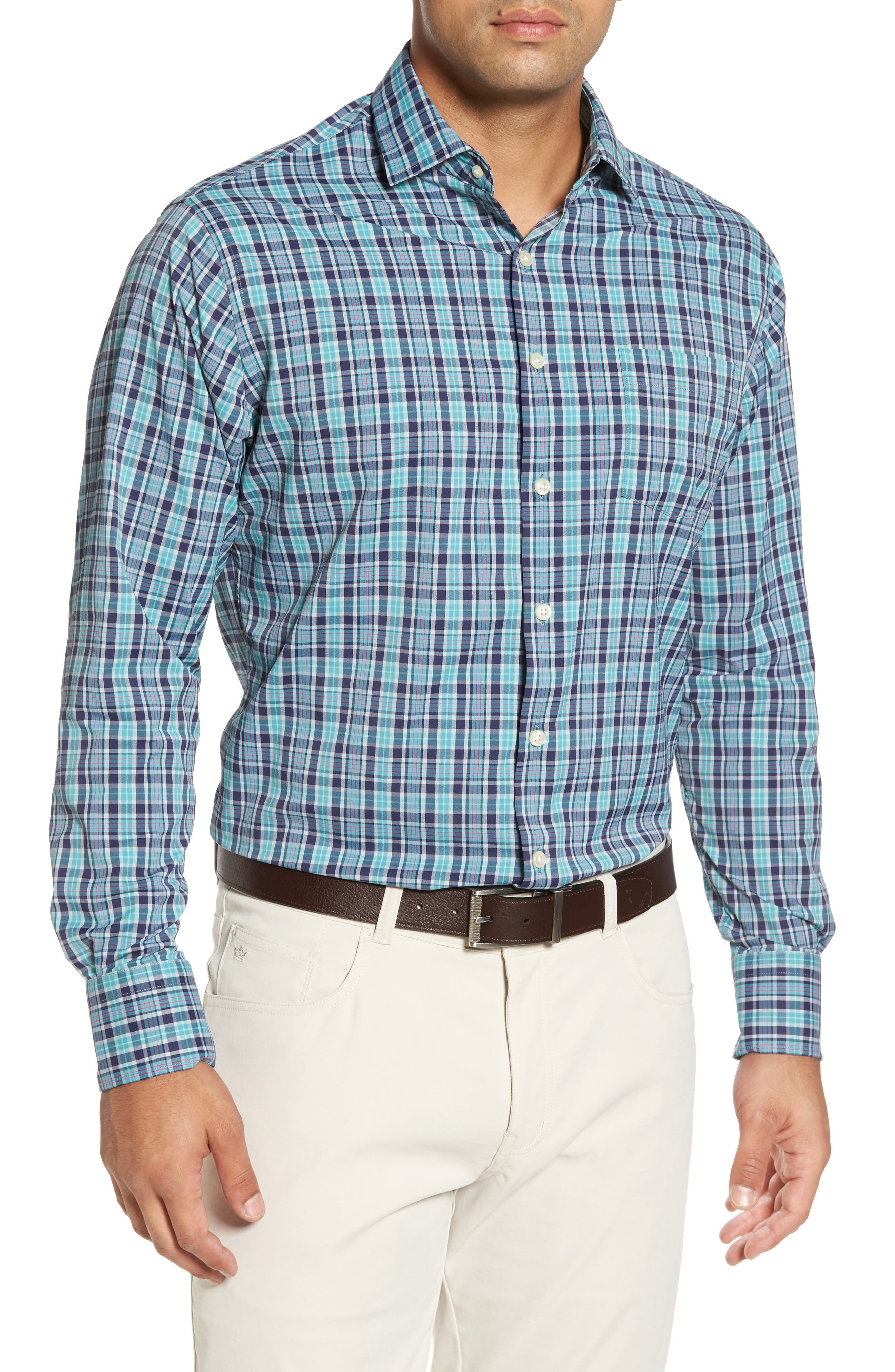 Sutter Athletic Fit Check Performance Sport Shirt,                         Main,                         color, 398