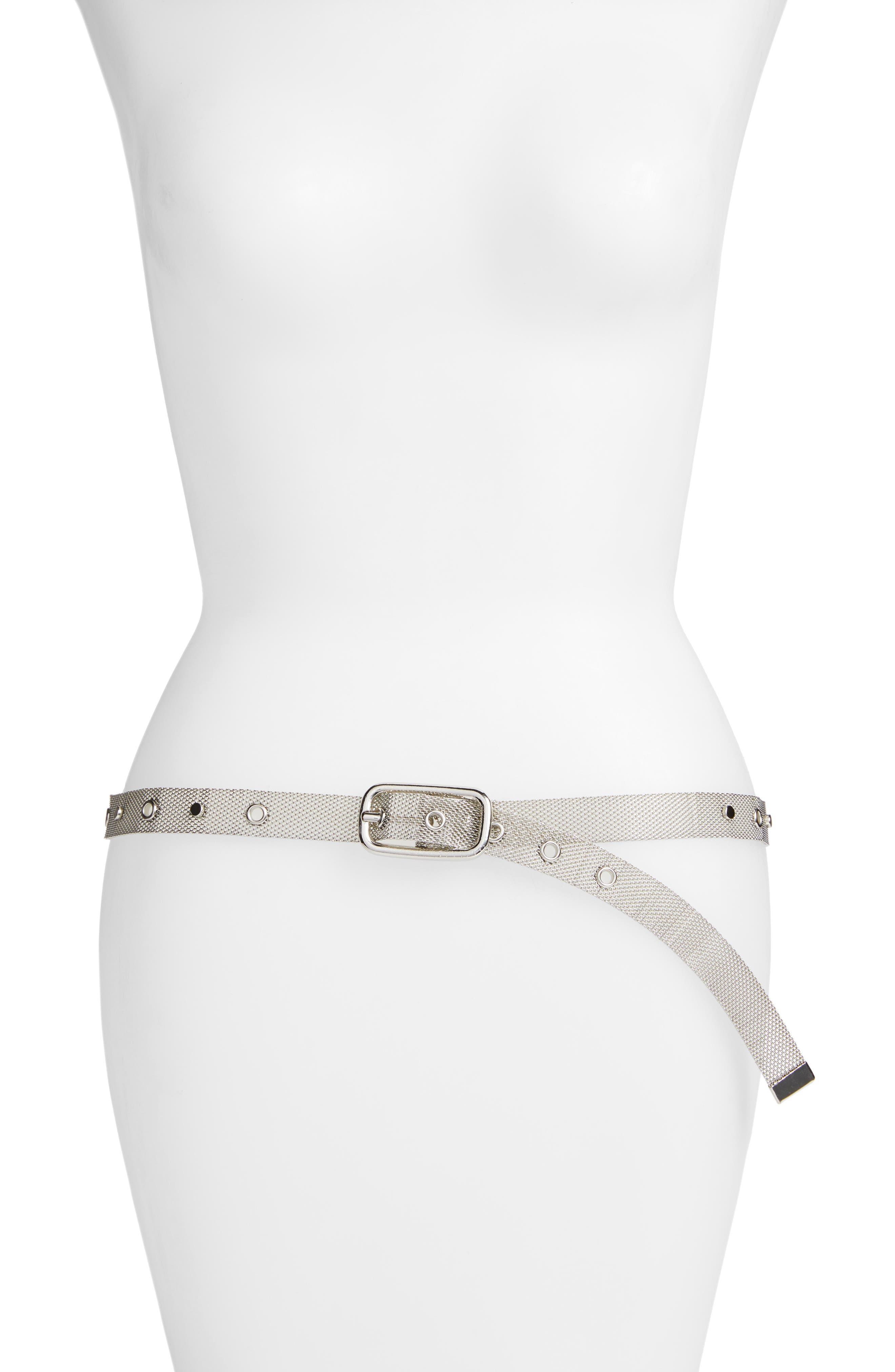 Metal Mesh Belt,                         Main,                         color, SILVER