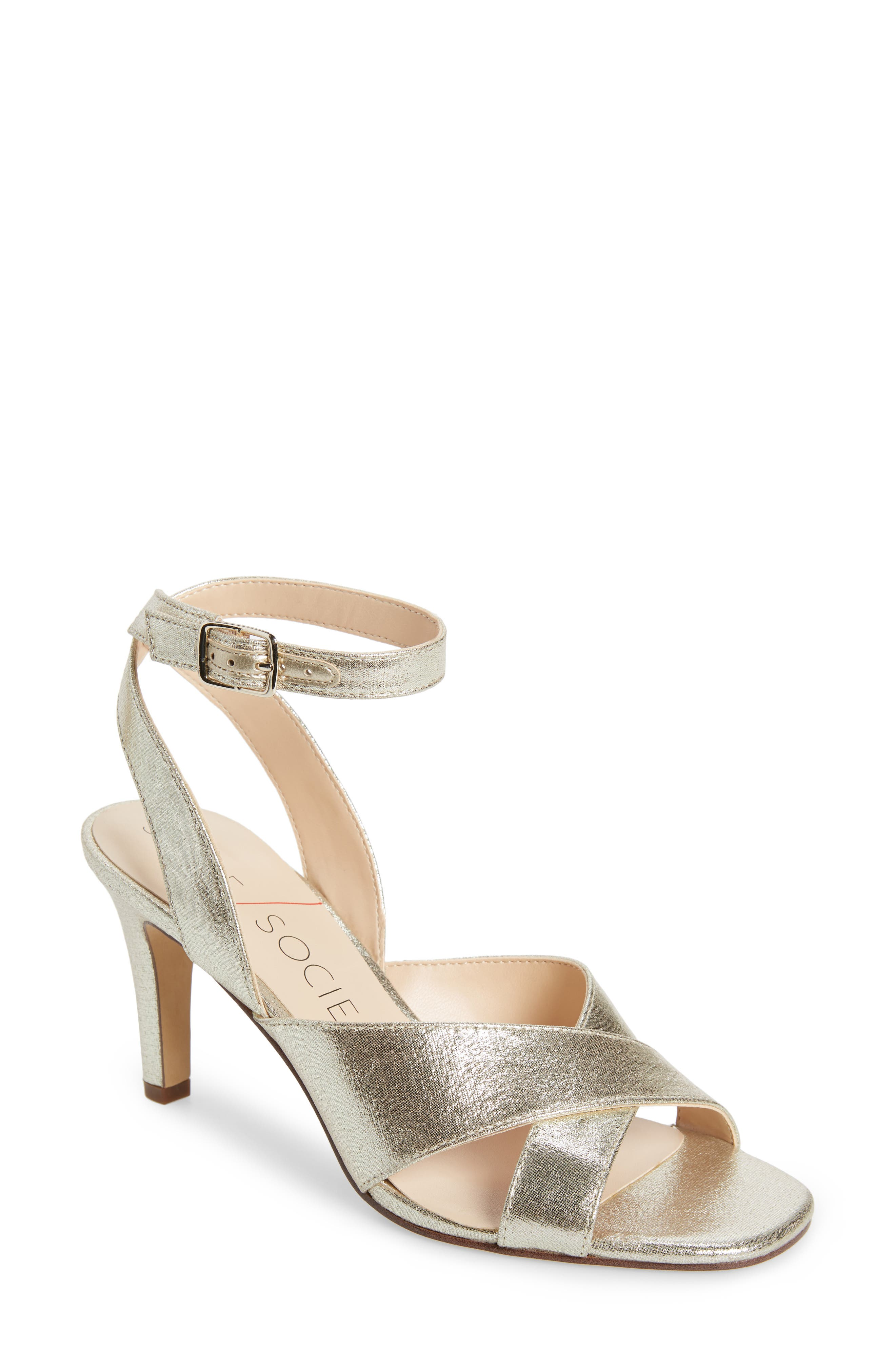 Sole Society Cassidea Ankle Strap Sandal, Metallic