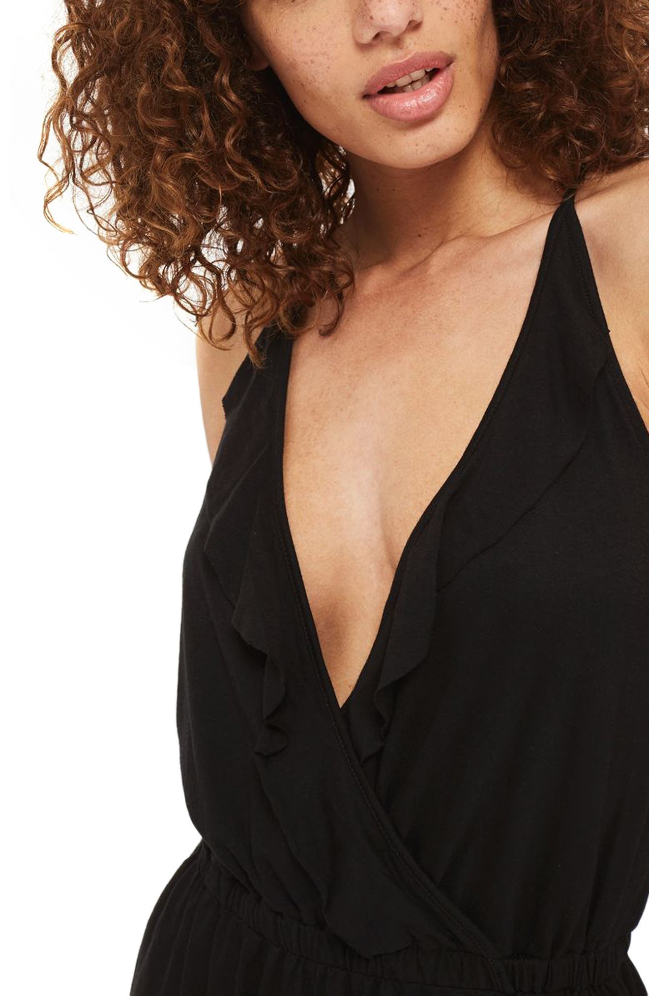 TOPSHOP,                             Jersey Wrap Cover-Up Romper,                             Alternate thumbnail 4, color,                             001