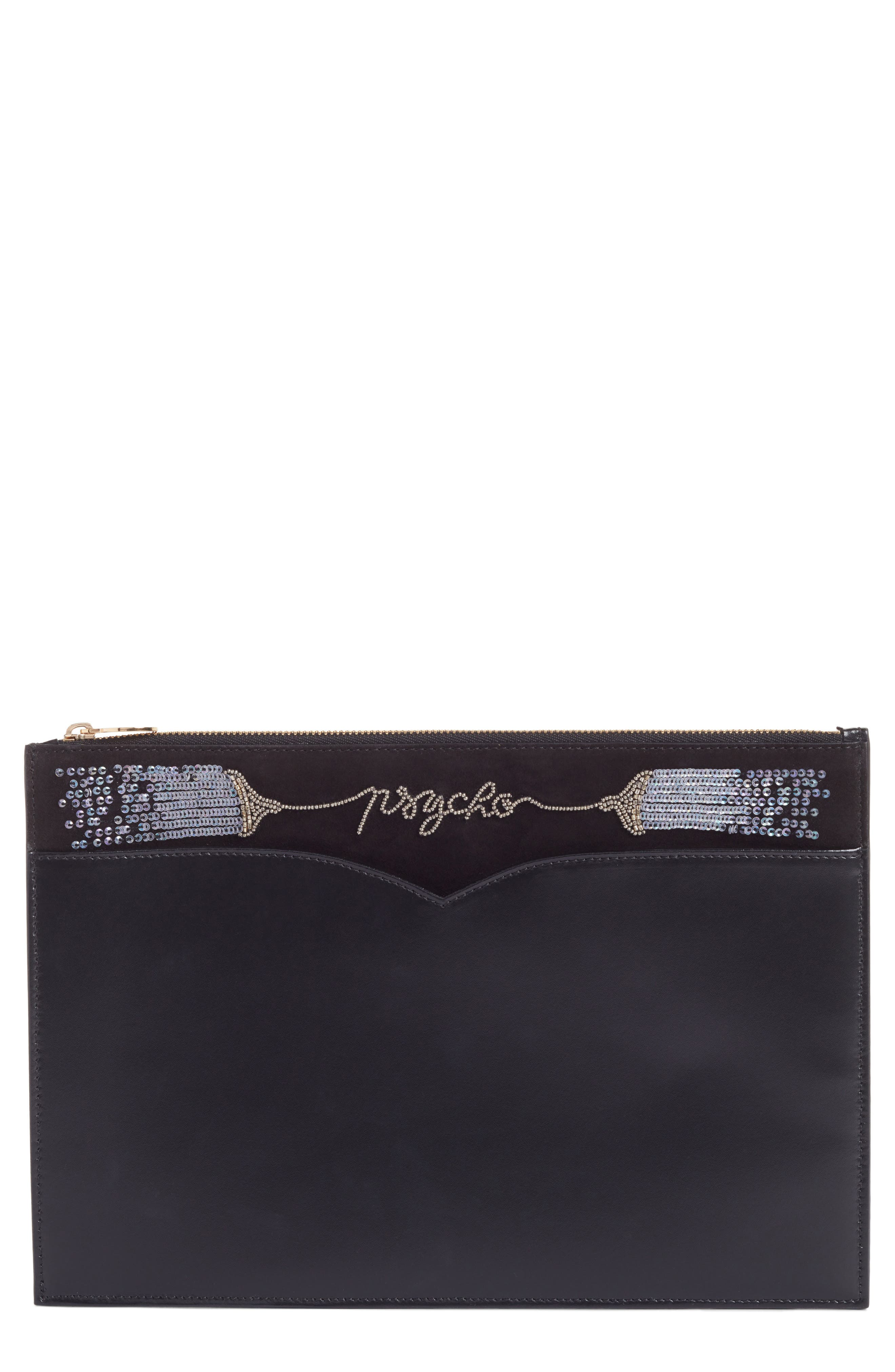 Medium Embellished Leather Zip Pouch,                             Main thumbnail 1, color,                             001