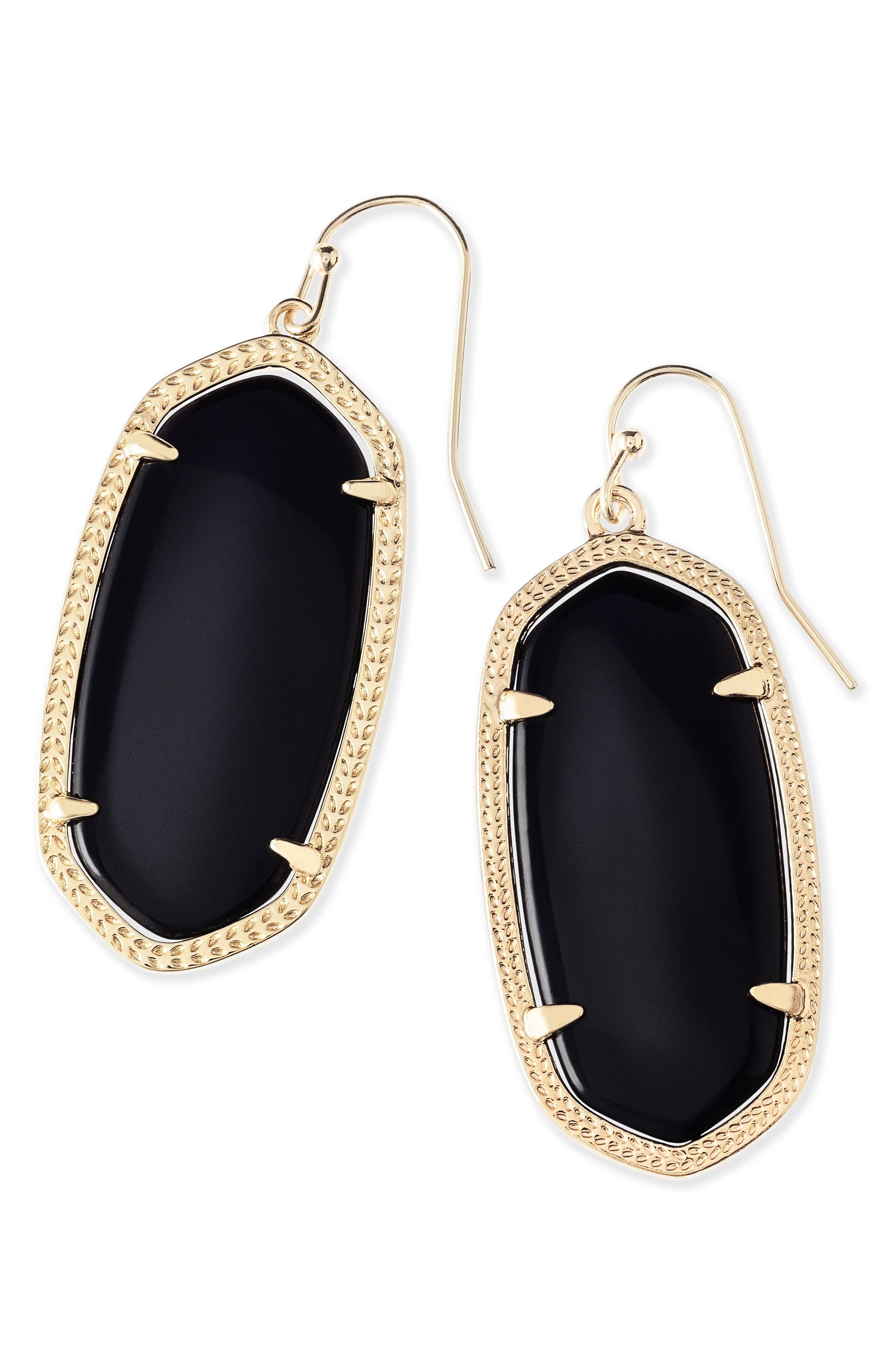 Elle Filigree Drop Earrings,                             Alternate thumbnail 5, color,                             BLACK/ GOLD