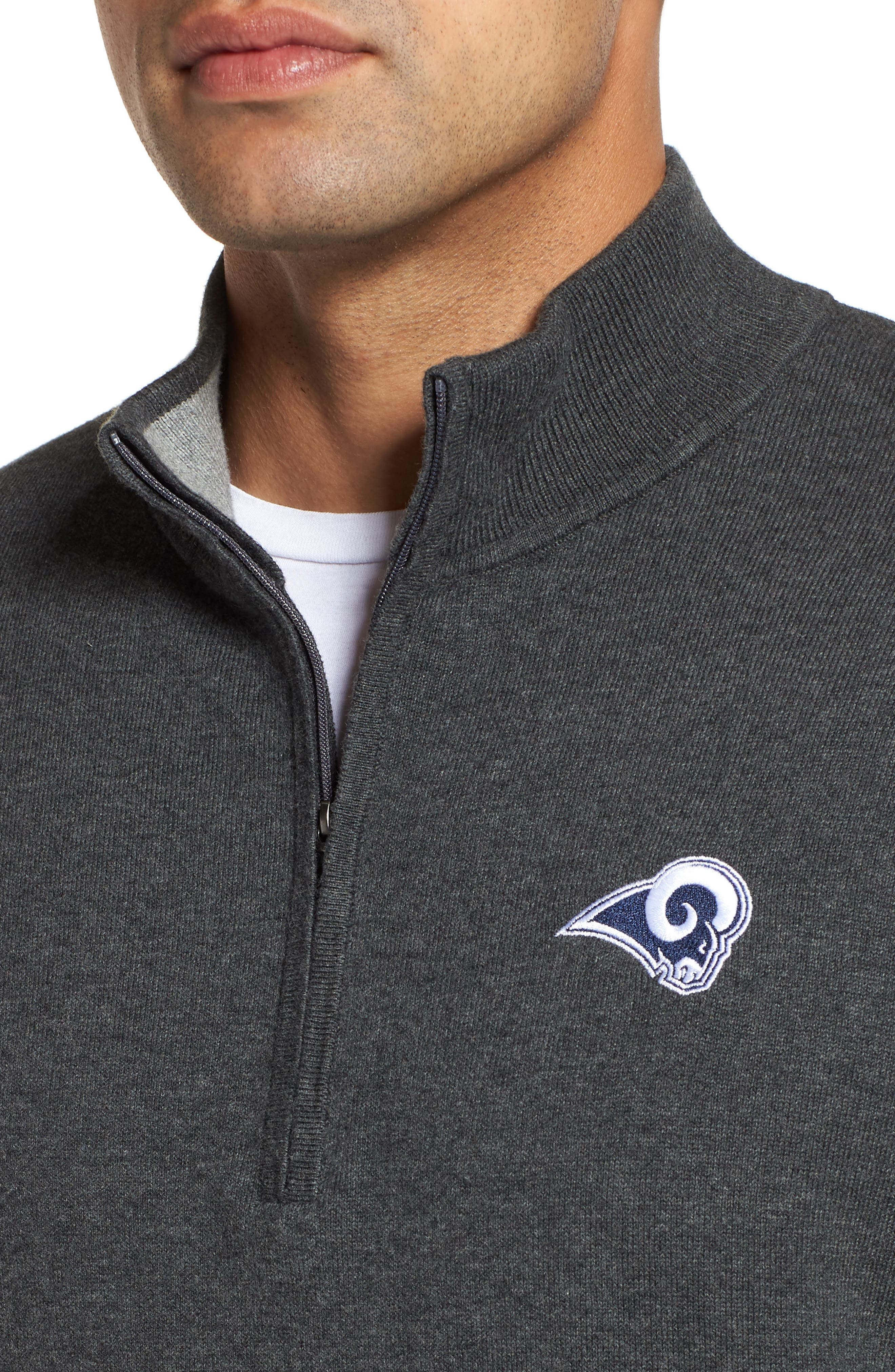 Los Angeles Rams - Lakemont Regular Fit Quarter Zip Sweater,                             Alternate thumbnail 4, color,                             CHARCOAL HEATHER