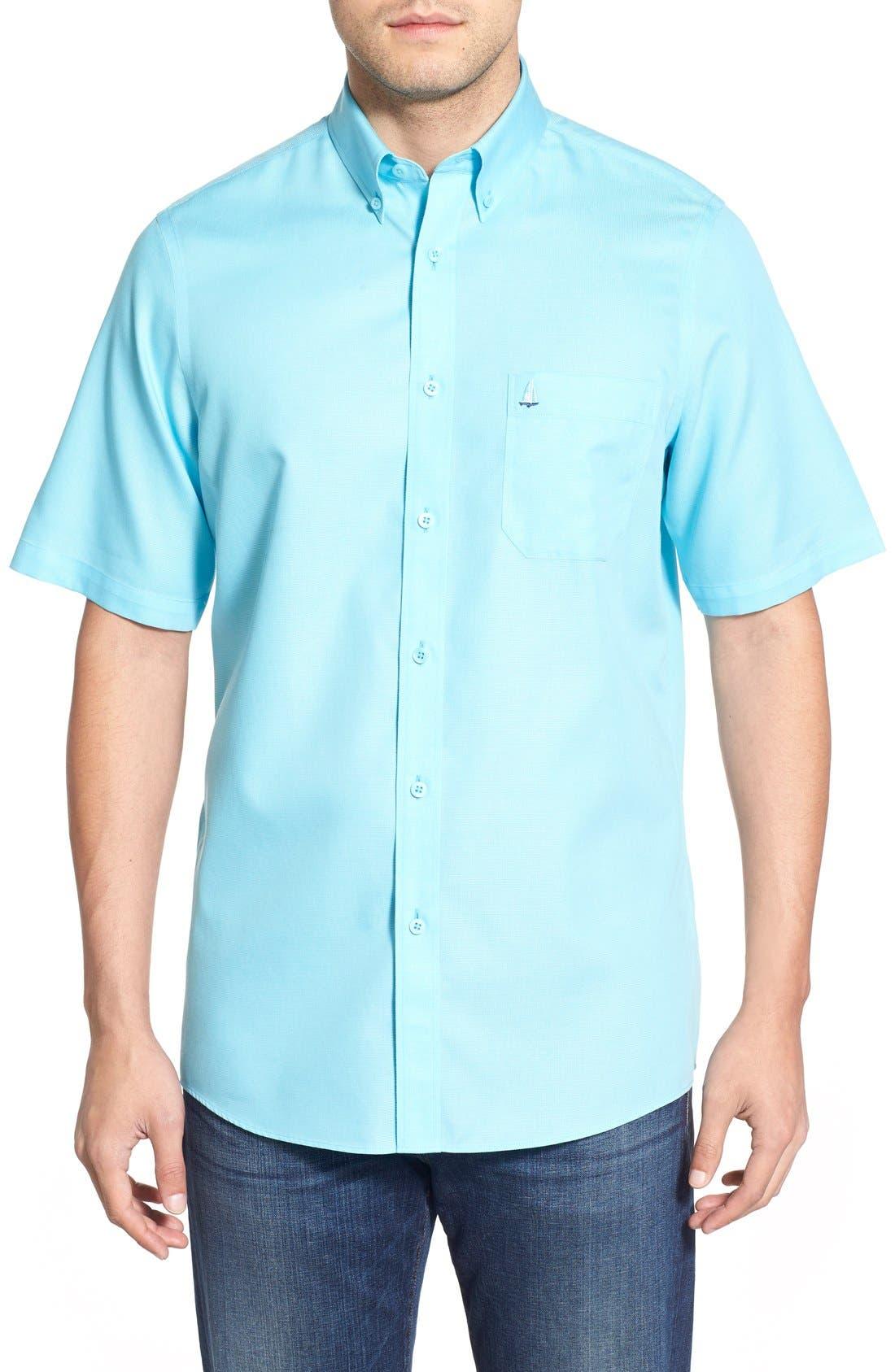 'Classic' Smartcare<sup>™</sup> Regular Fit Short Sleeve Cotton Sport Shirt,                             Main thumbnail 17, color,