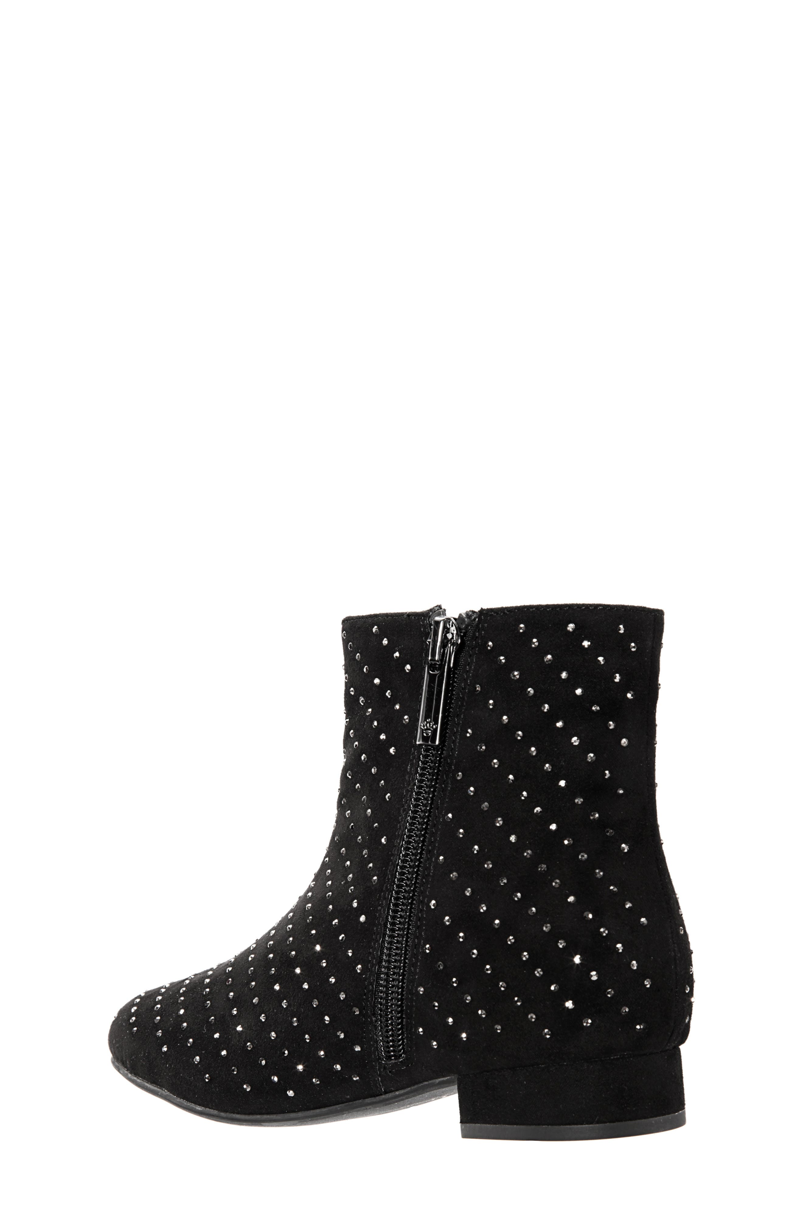 Peaches Studded Bootie,                             Alternate thumbnail 2, color,                             BLACK MICRO SUEDE