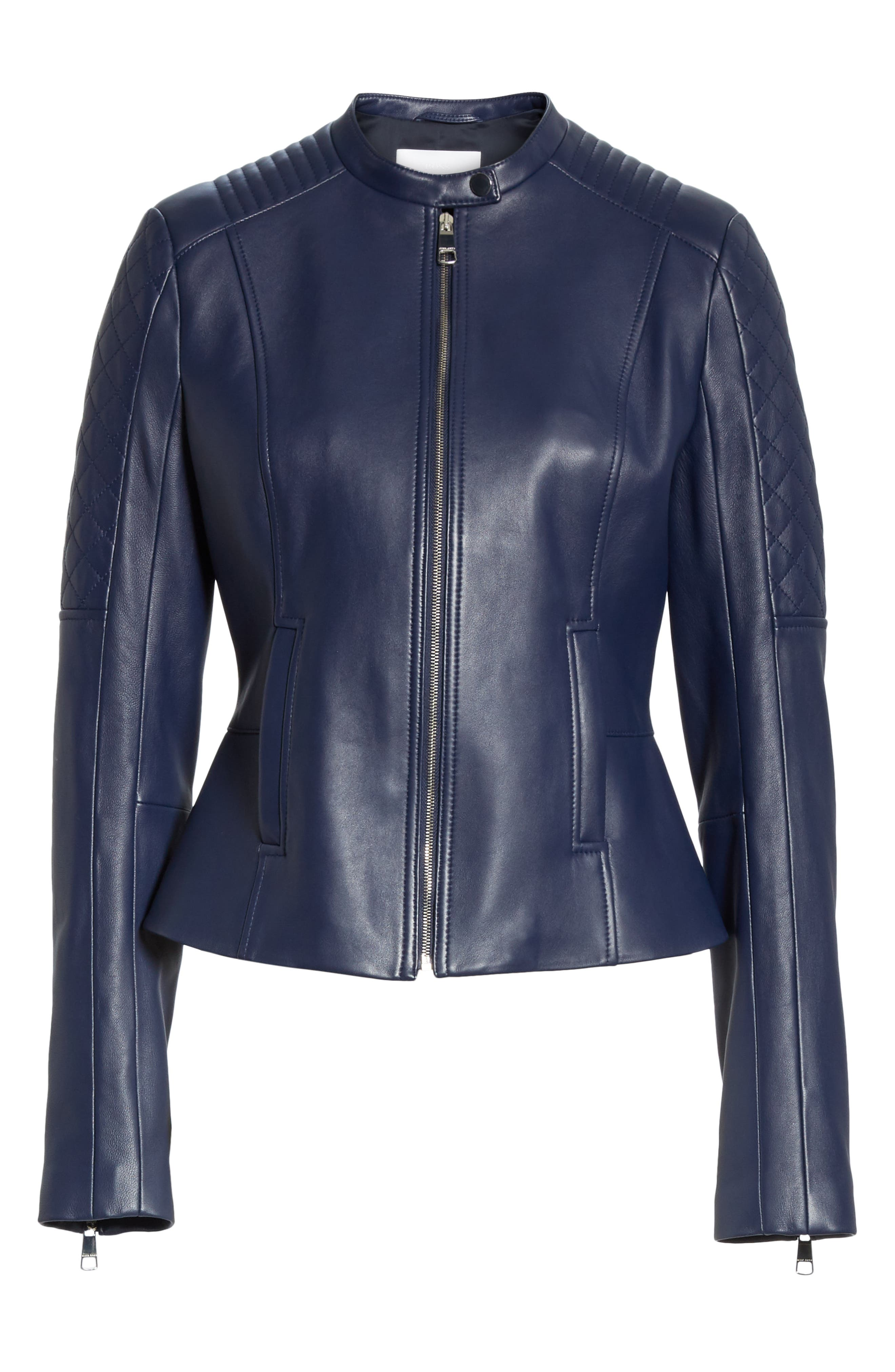 Sadeno Leather Moto Jacket,                             Alternate thumbnail 5, color,                             INK BLUE