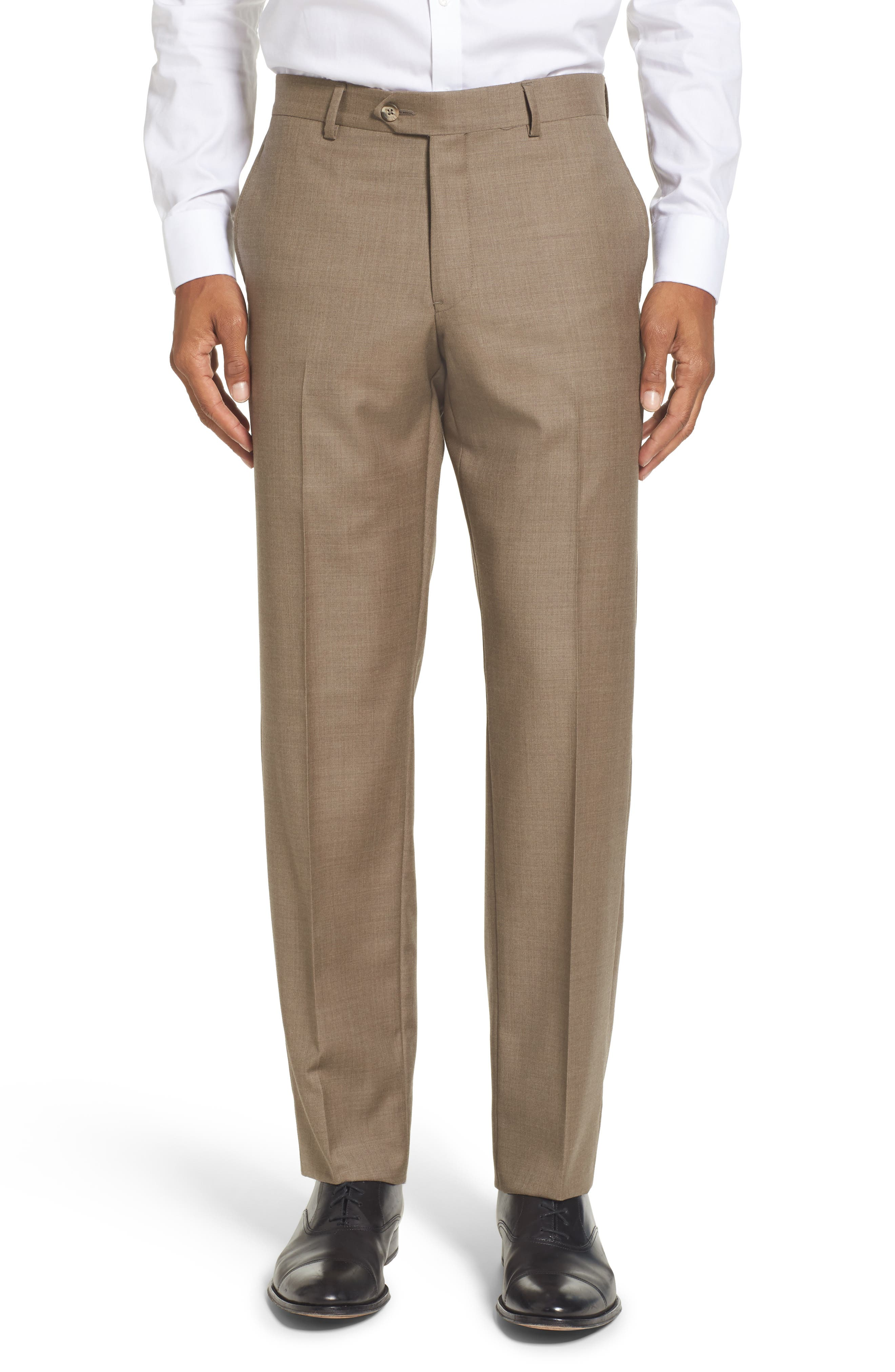 Flat Front Solid Wool Trousers,                             Main thumbnail 5, color,