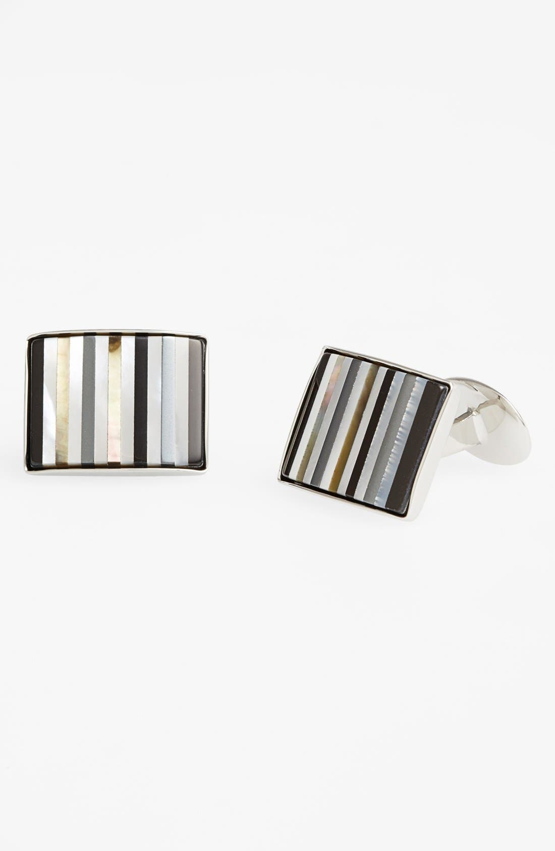 Semiprecious Cuff Links,                             Main thumbnail 1, color,                             STERLING SILVER/ MULTICOLORED