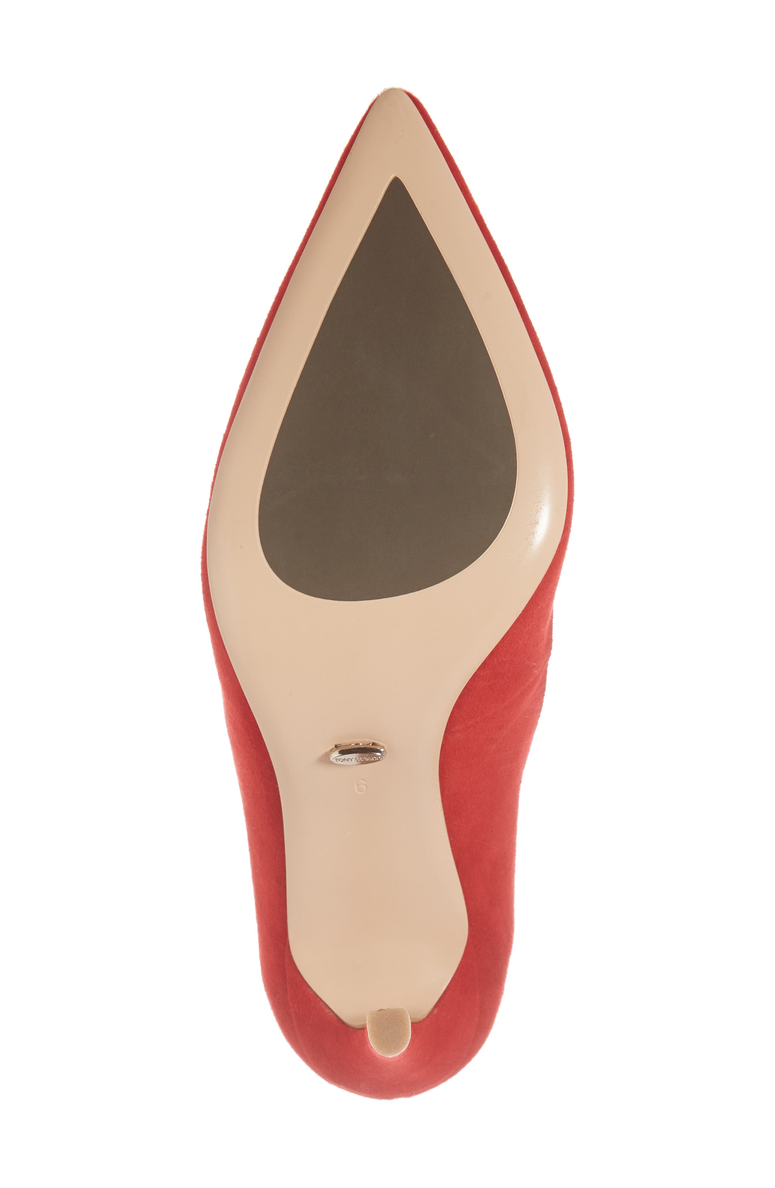 Lotus Pointy Toe Pump,                             Alternate thumbnail 6, color,                             FIRE SUEDE
