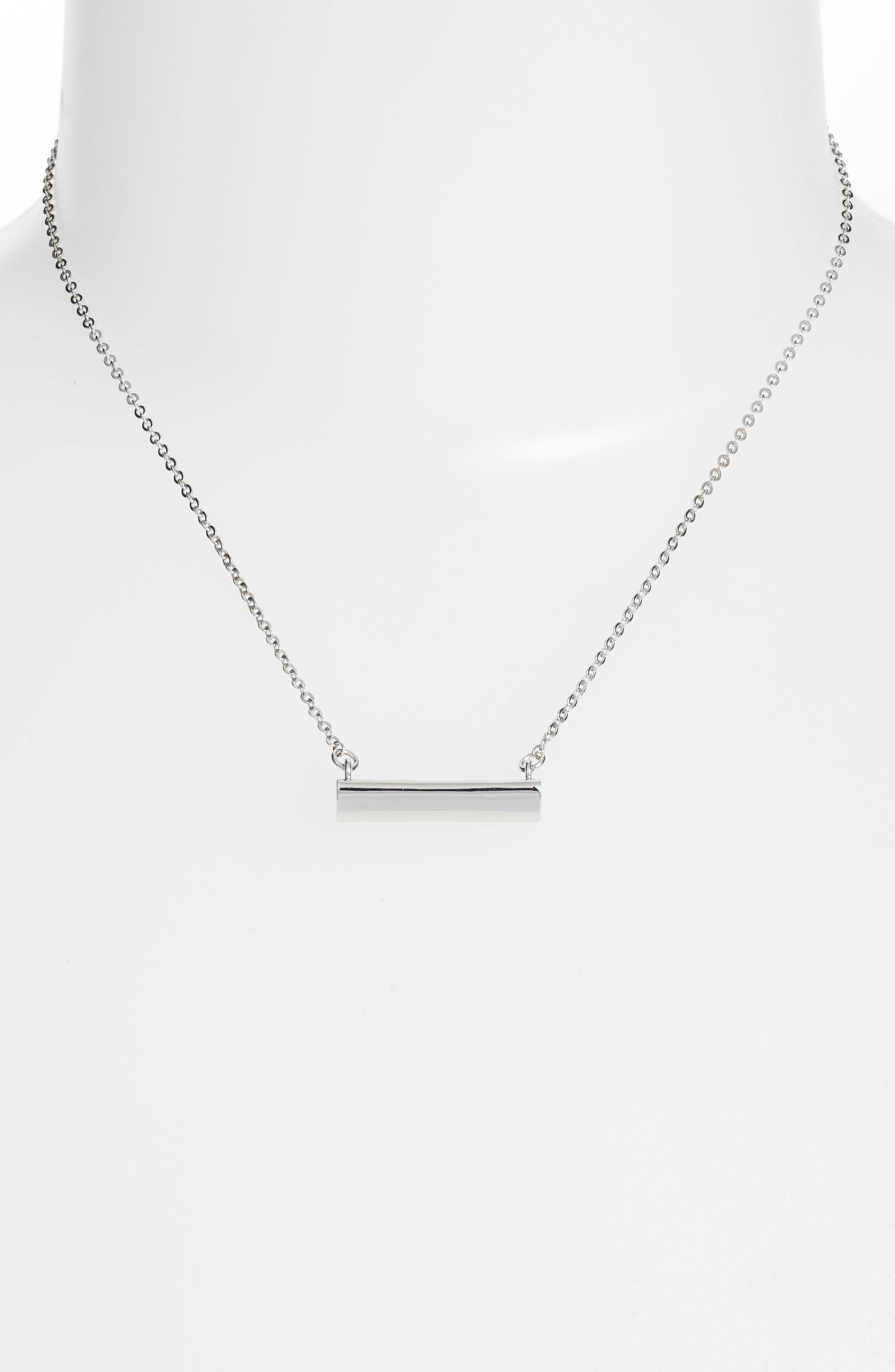 Heart Shaped Bar Pendant Necklace,                             Alternate thumbnail 2, color,                             SILVER