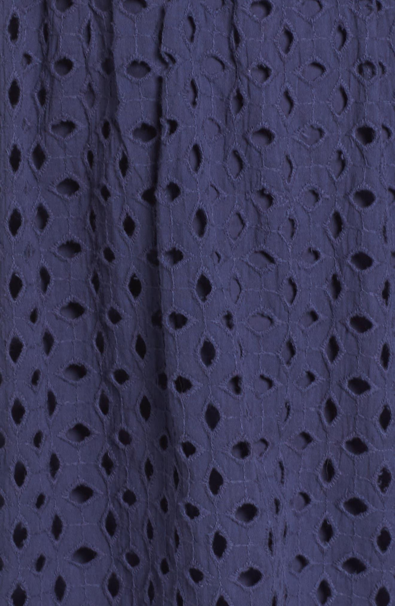 Eyelet Fit & Flare Dress,                             Alternate thumbnail 14, color,