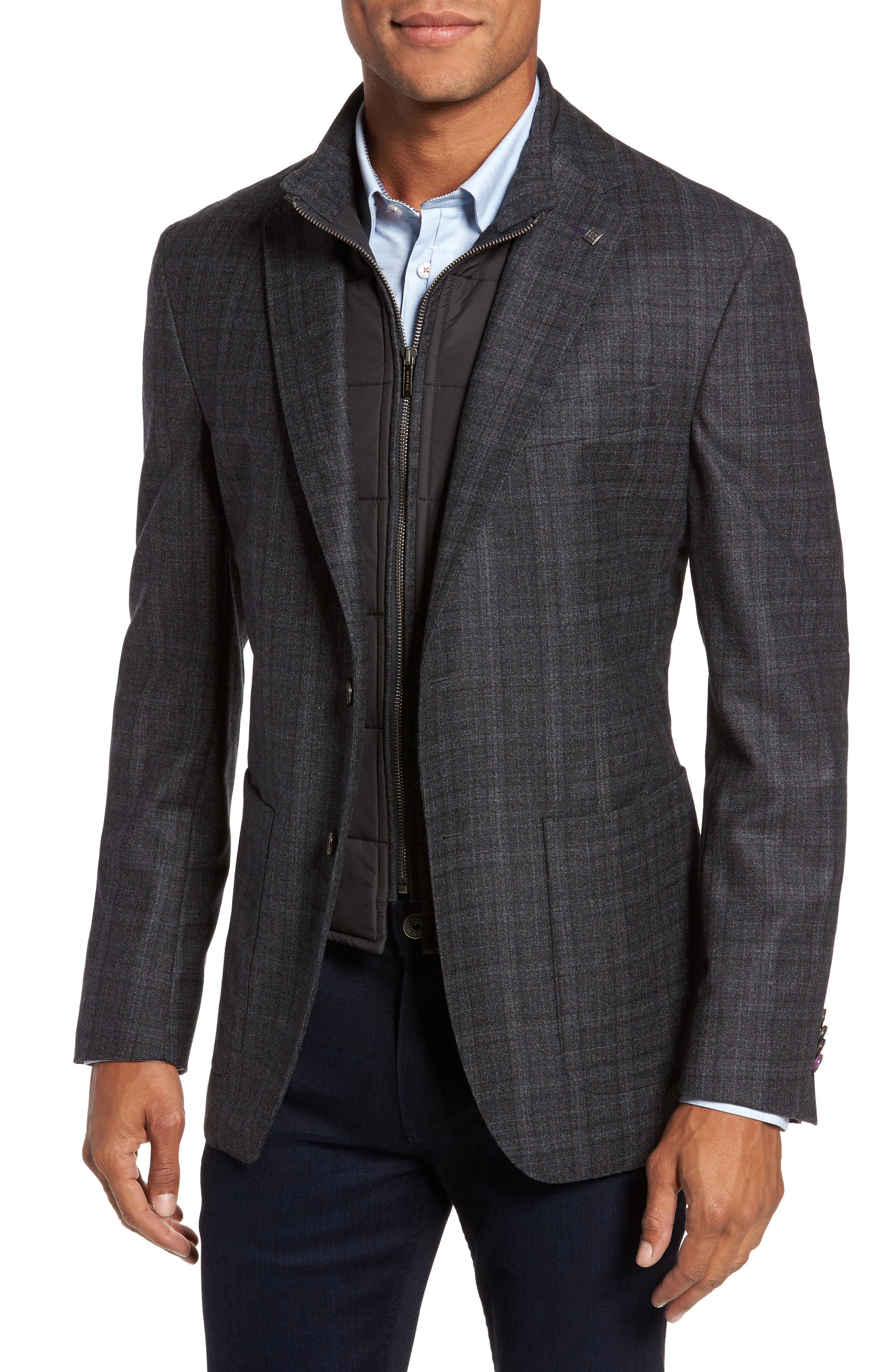 Trim Fit Plaid Wool Sport Coat,                             Main thumbnail 1, color,                             020