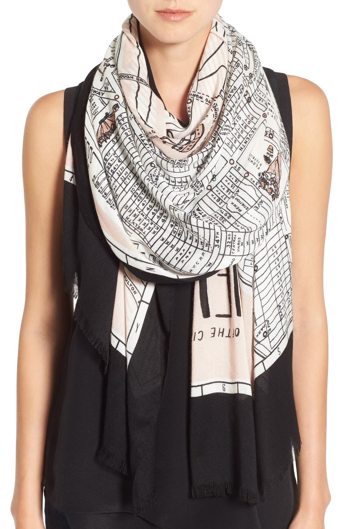 new york map print scarf,                         Main,                         color, 250