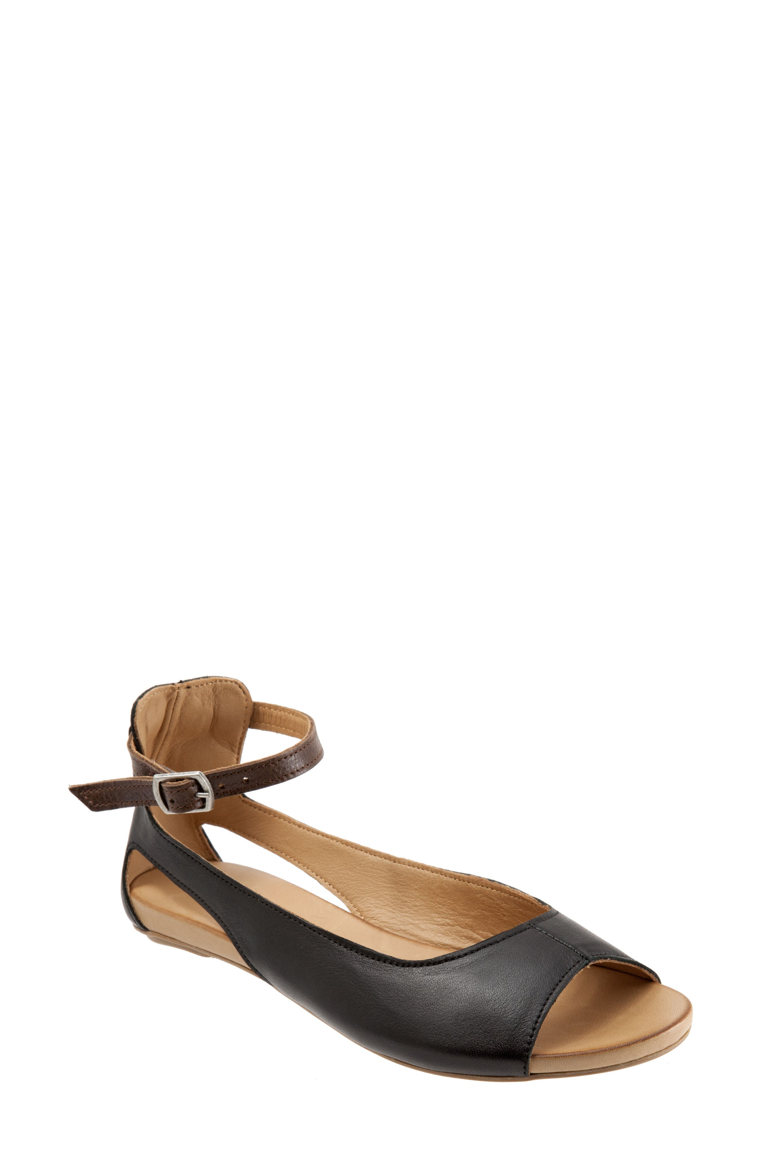 Donna Ankle Strap Sandal,                         Main,                         color, BLACK LEATHER