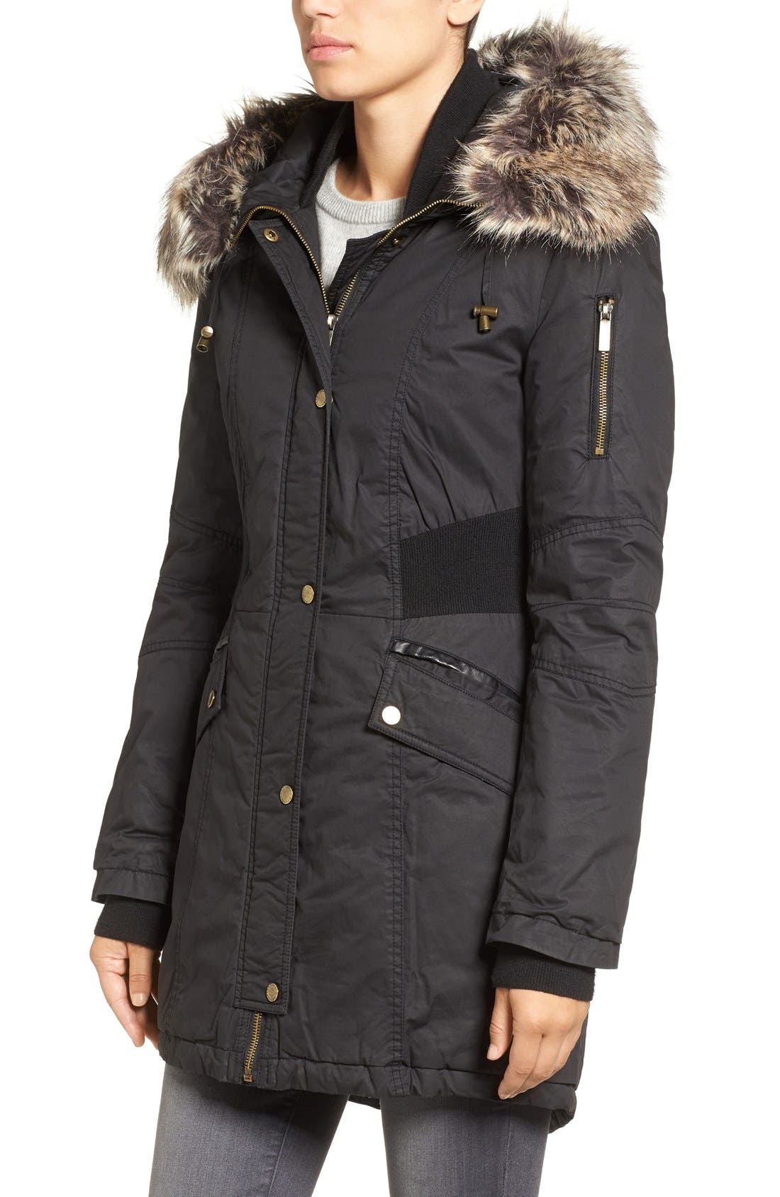 Mixed Media Parka with Faux Fur Trim Hood,                             Alternate thumbnail 7, color,