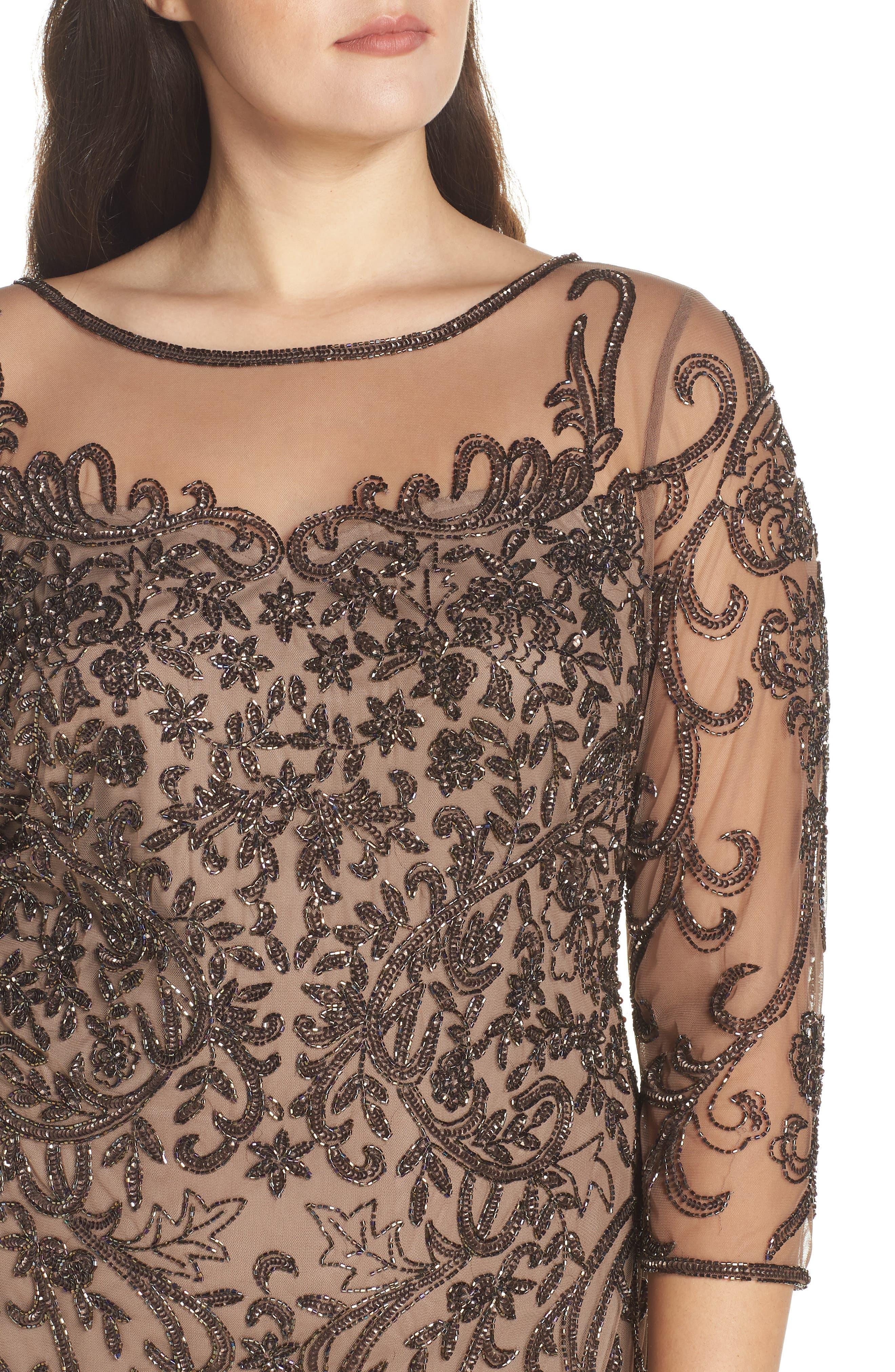 Embellished Mesh Sheath Dress,                             Alternate thumbnail 11, color,                             MOCHA