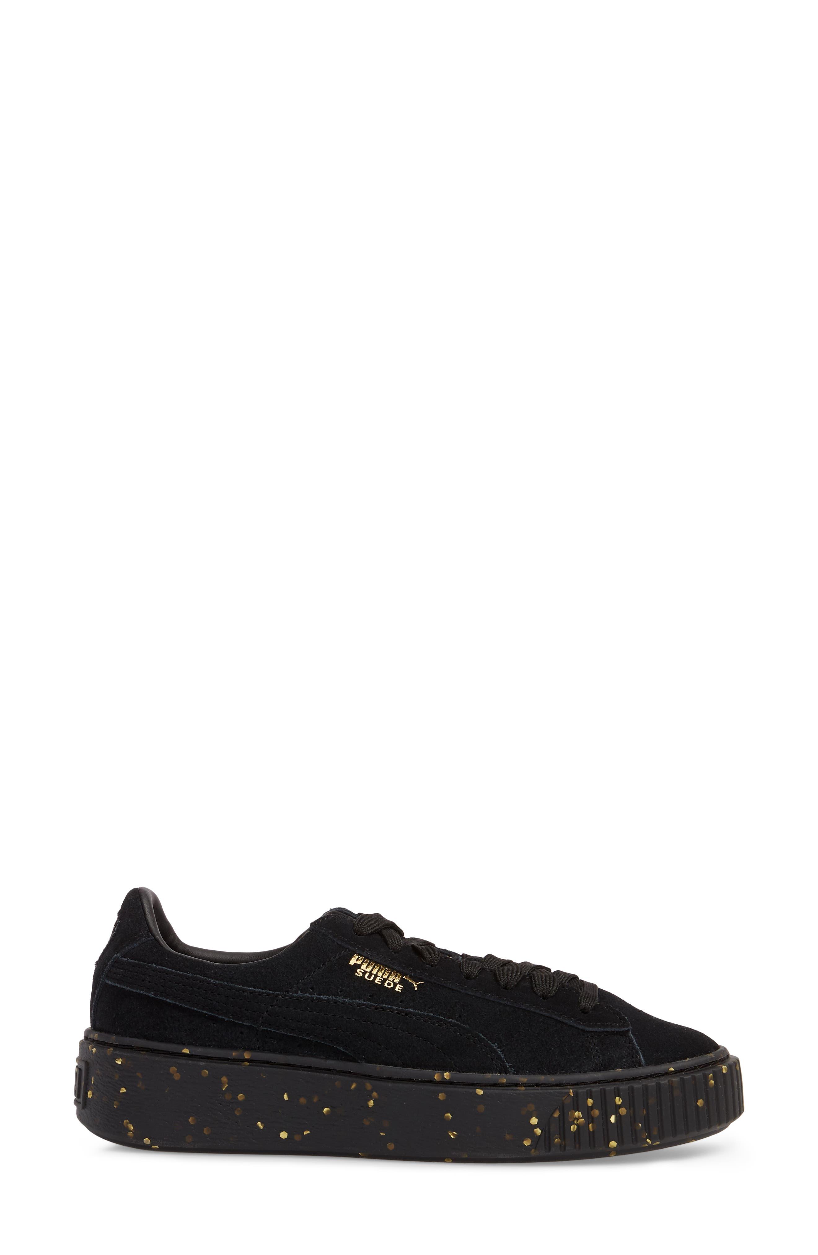Suede Platform Sneaker,                             Alternate thumbnail 3, color,                             001