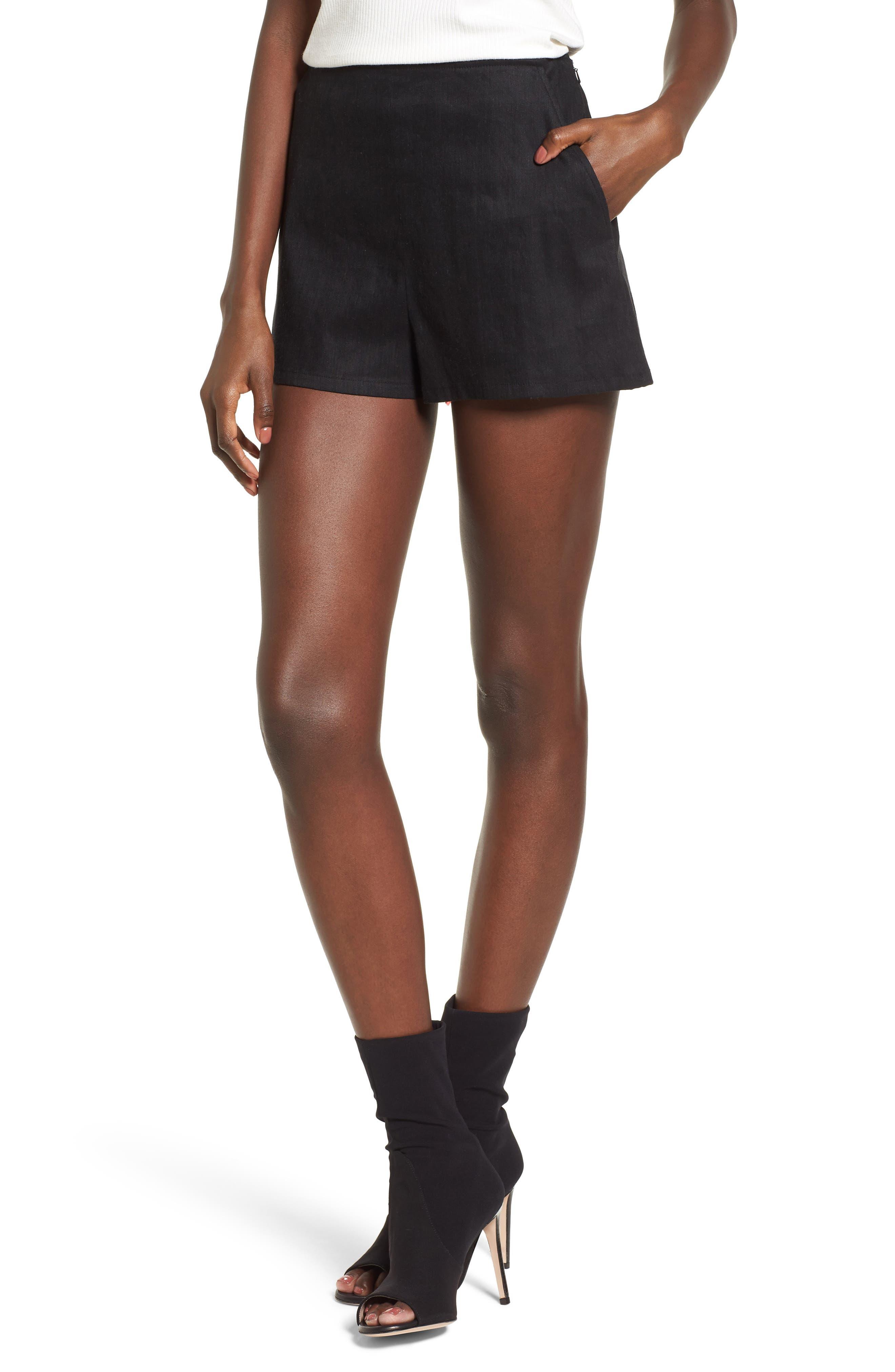 High Waist Linen Blend Shorts,                         Main,                         color, 001