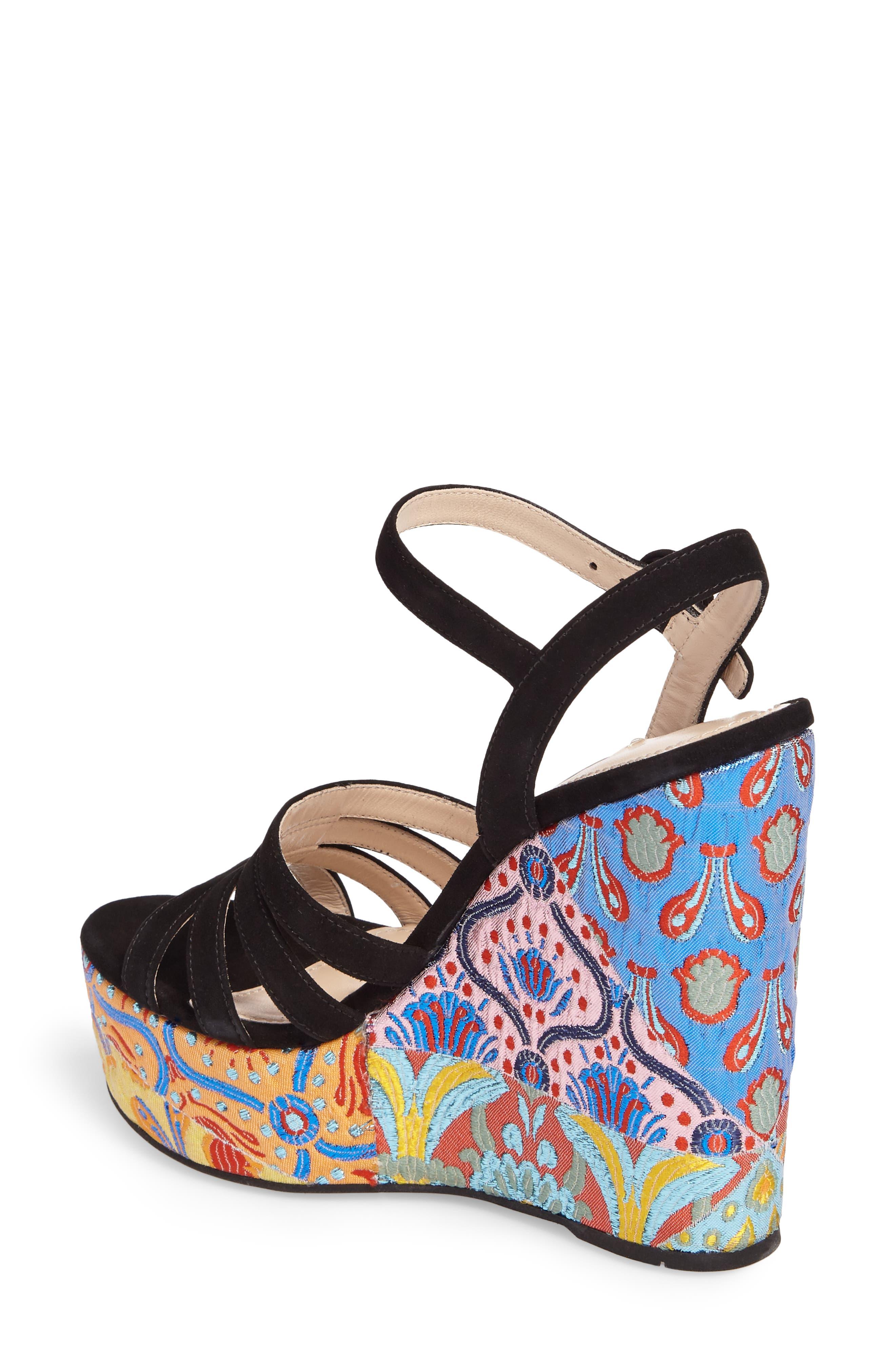 Floral Platform Wedge Sandal,                             Alternate thumbnail 2, color,                             002