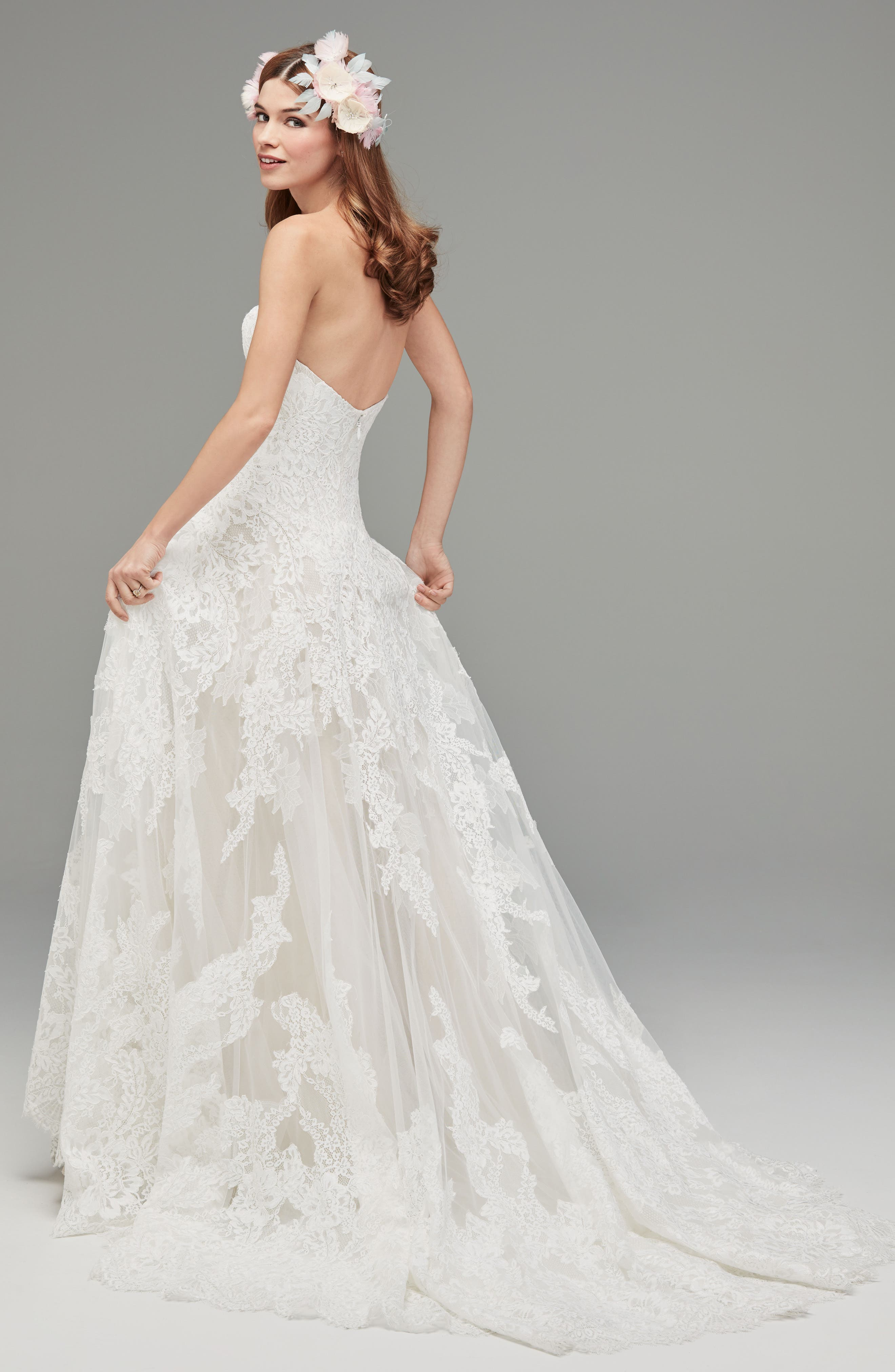 Lyric Strapless Lace Drop Waist Gown,                             Alternate thumbnail 2, color,                             IVORY/NUDE