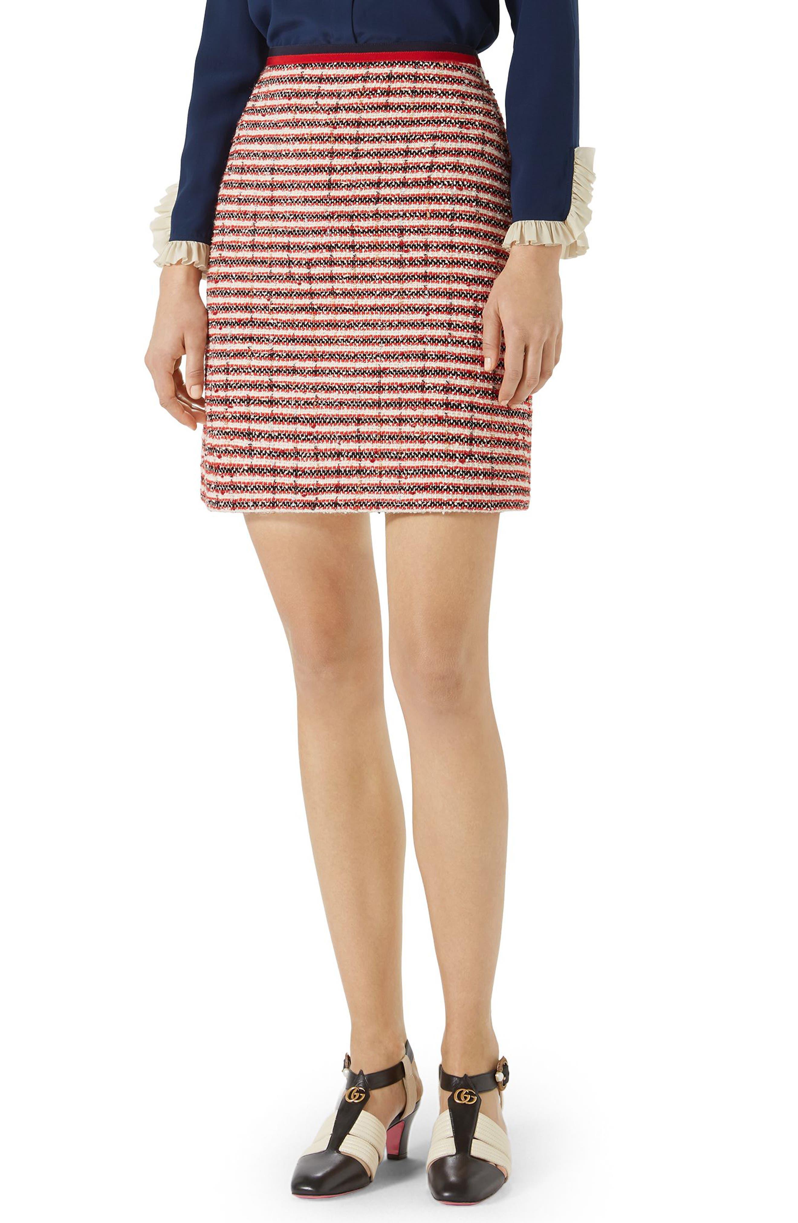 Stripe Tweed A-Line Skirt,                             Alternate thumbnail 3, color,                             GARDENIA-HIBISCUS RED STRIPE