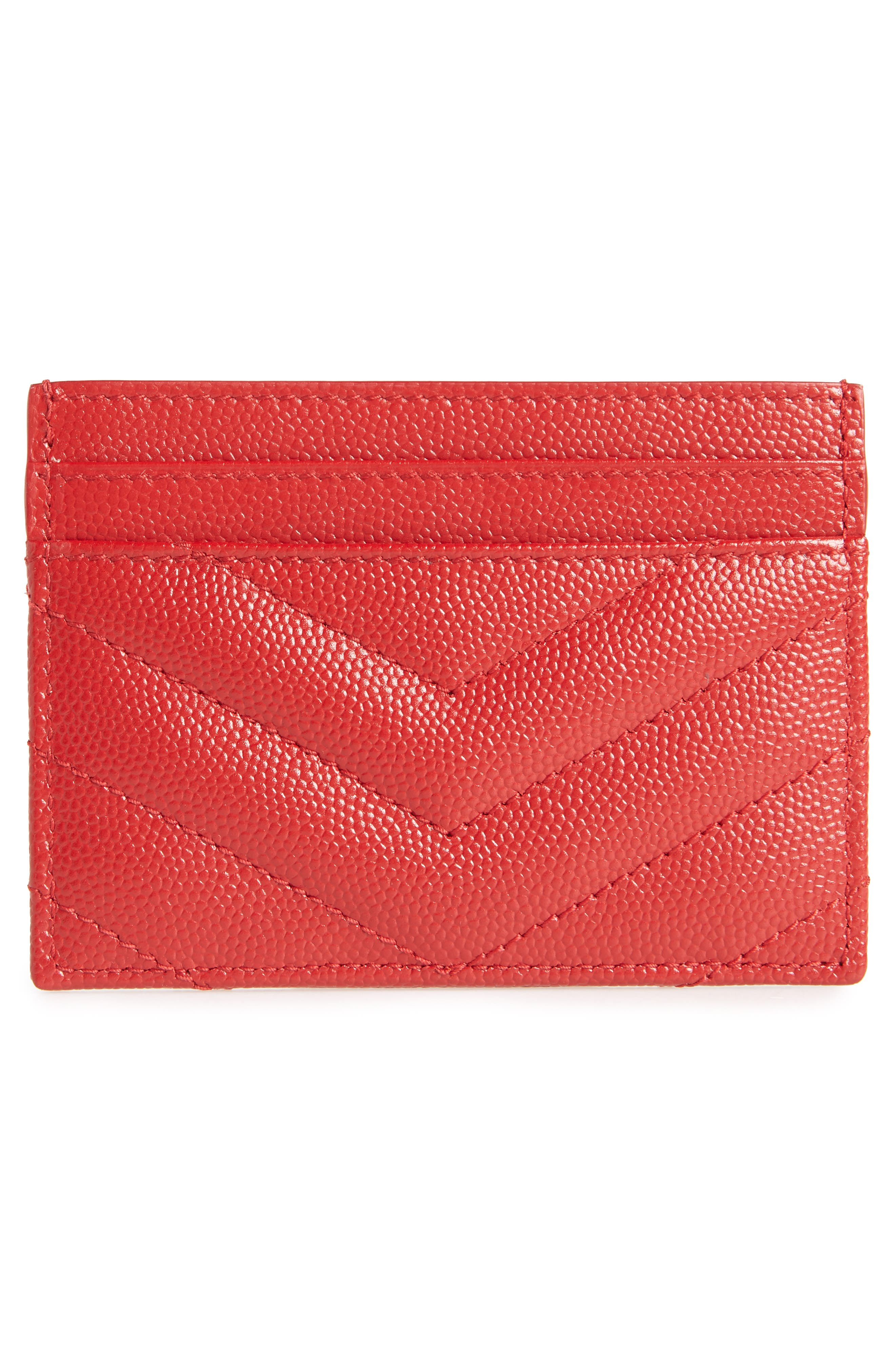Monogram Quilted Leather Credit Card Case,                             Alternate thumbnail 2, color,                             ROUGE EROS