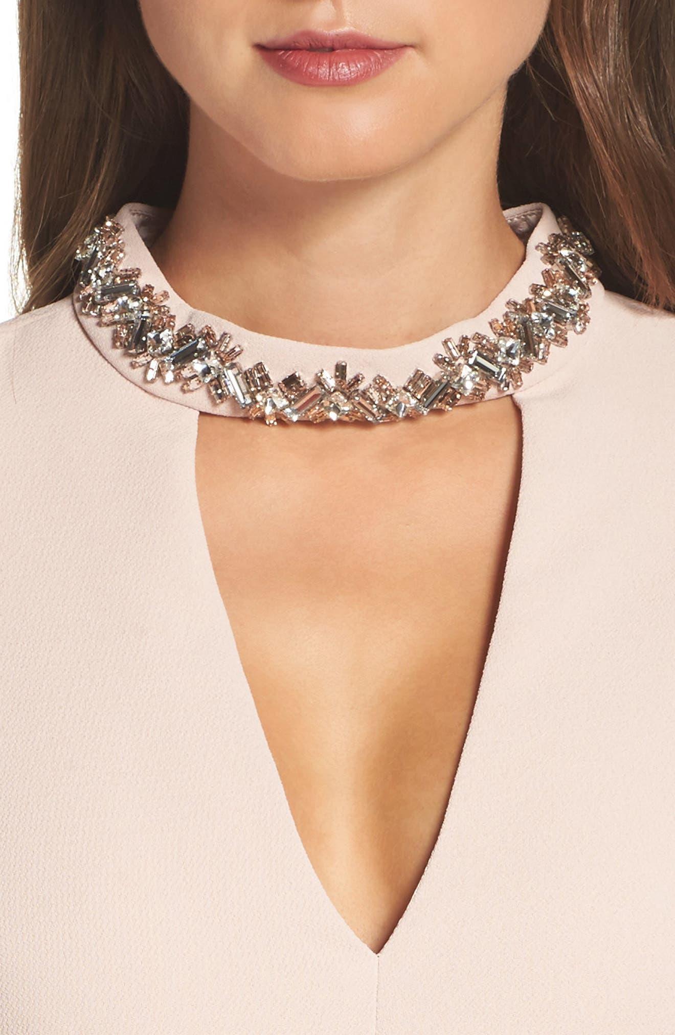 Crystal Choker Bell Sleeve Sheath Dress,                             Alternate thumbnail 8, color,
