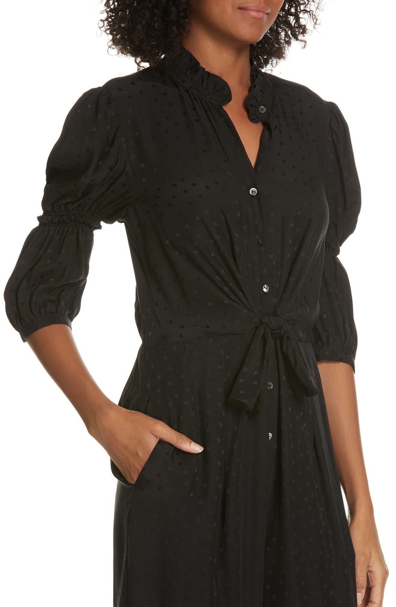 REBECCA TAYLOR,                             Silk Jacquard Jumpsuit,                             Alternate thumbnail 4, color,                             BLACK