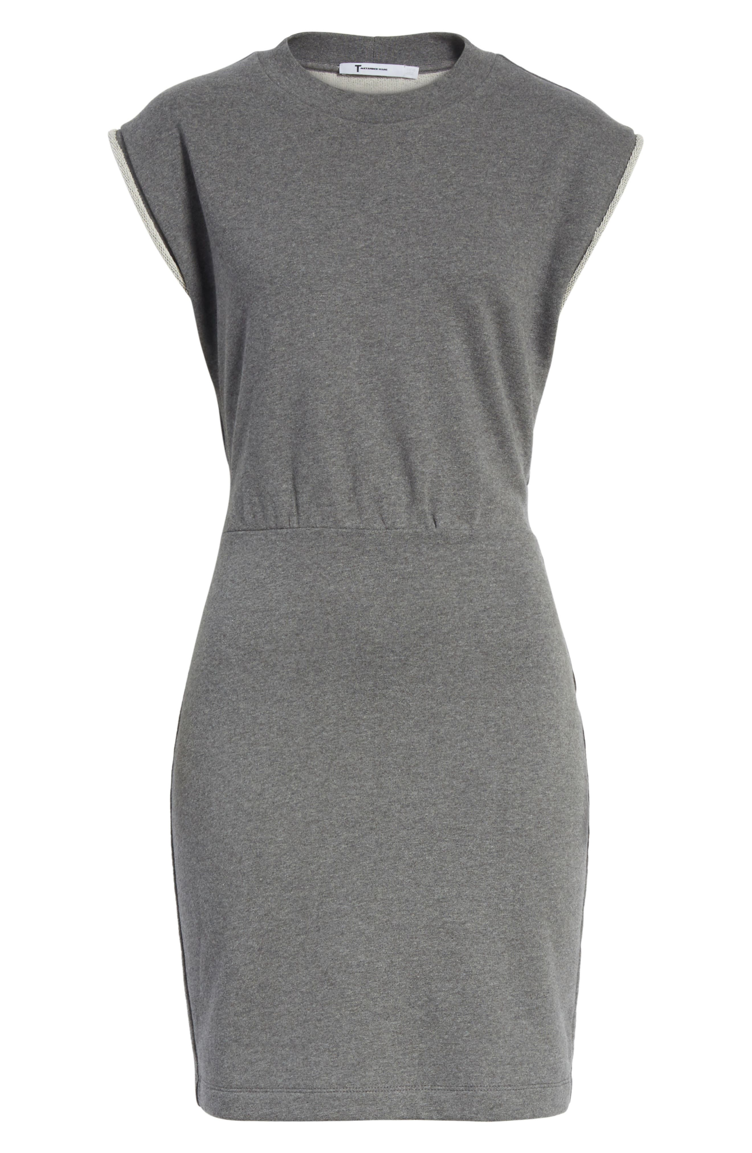 T by Alexander Wang French Terry Dress,                             Alternate thumbnail 6, color,                             020
