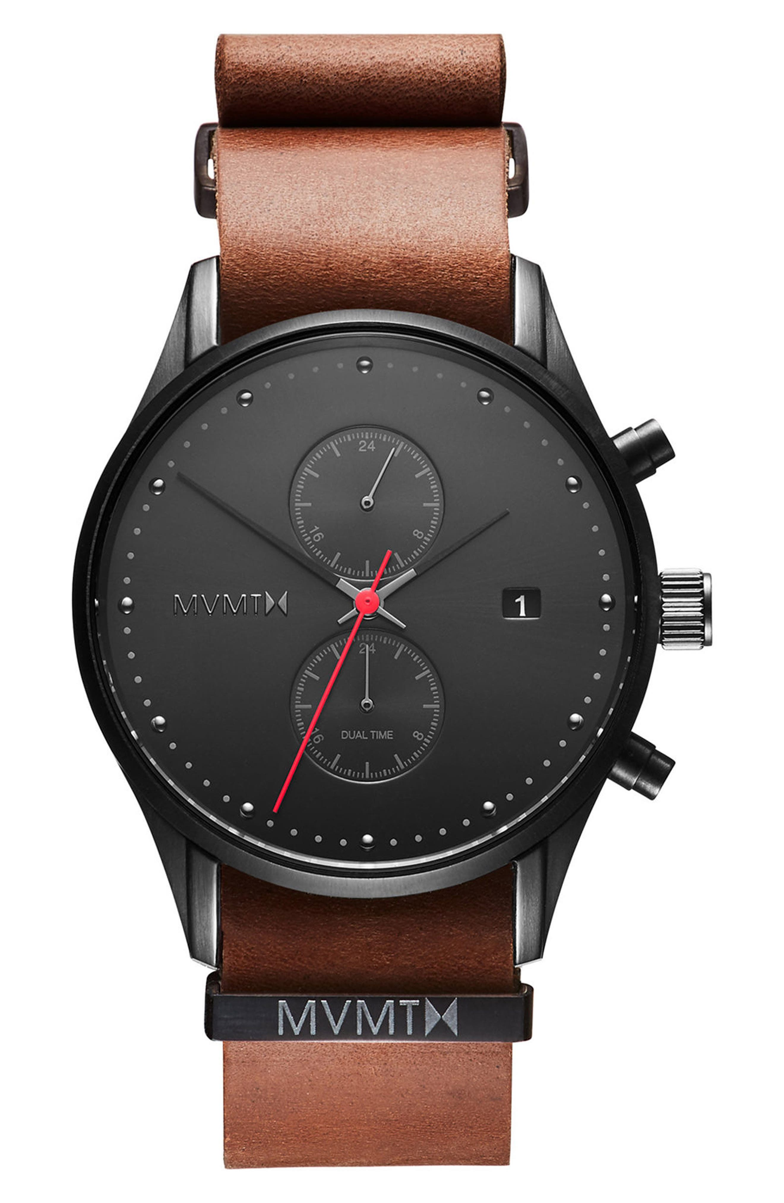 MVMT,                             Voyager Chronograph Leather Strap Watch, 42mm,                             Main thumbnail 1, color,                             200