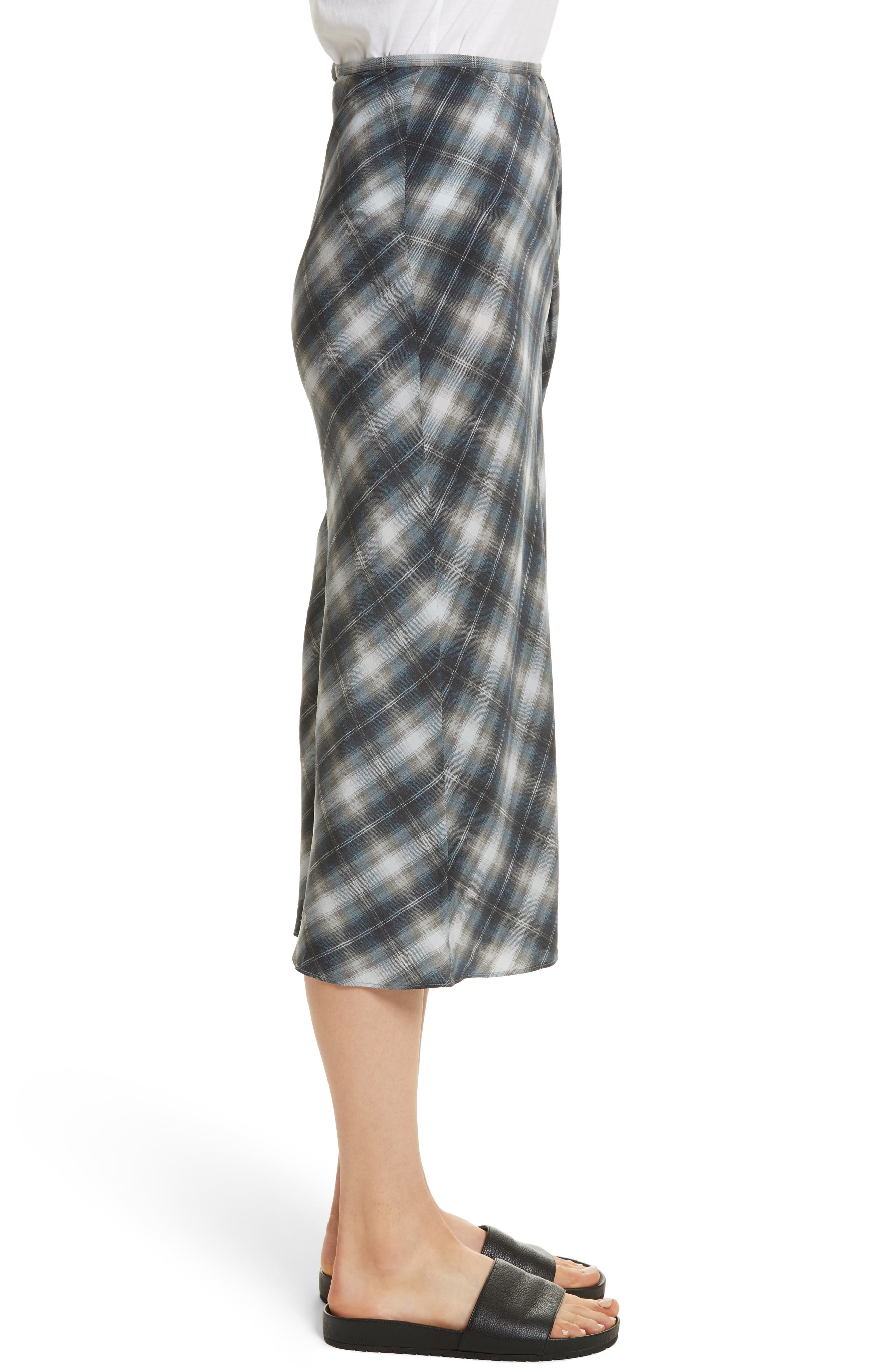 Shadow Plaid Midi Silk Skirt,                             Alternate thumbnail 3, color,                             409