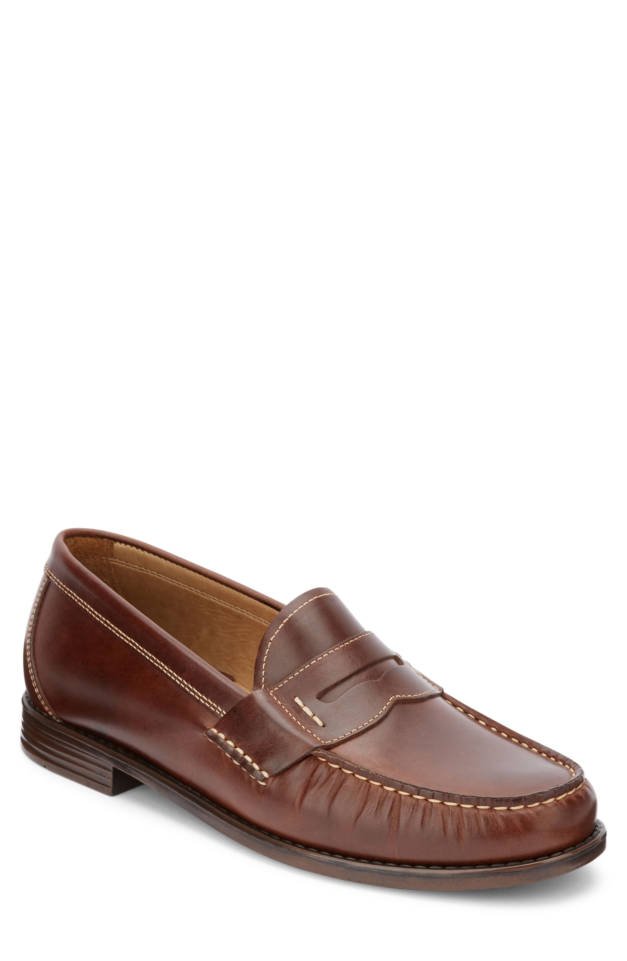 Wagner Penny Loafer,                         Main,                         color, DARK BROWN LEATHER