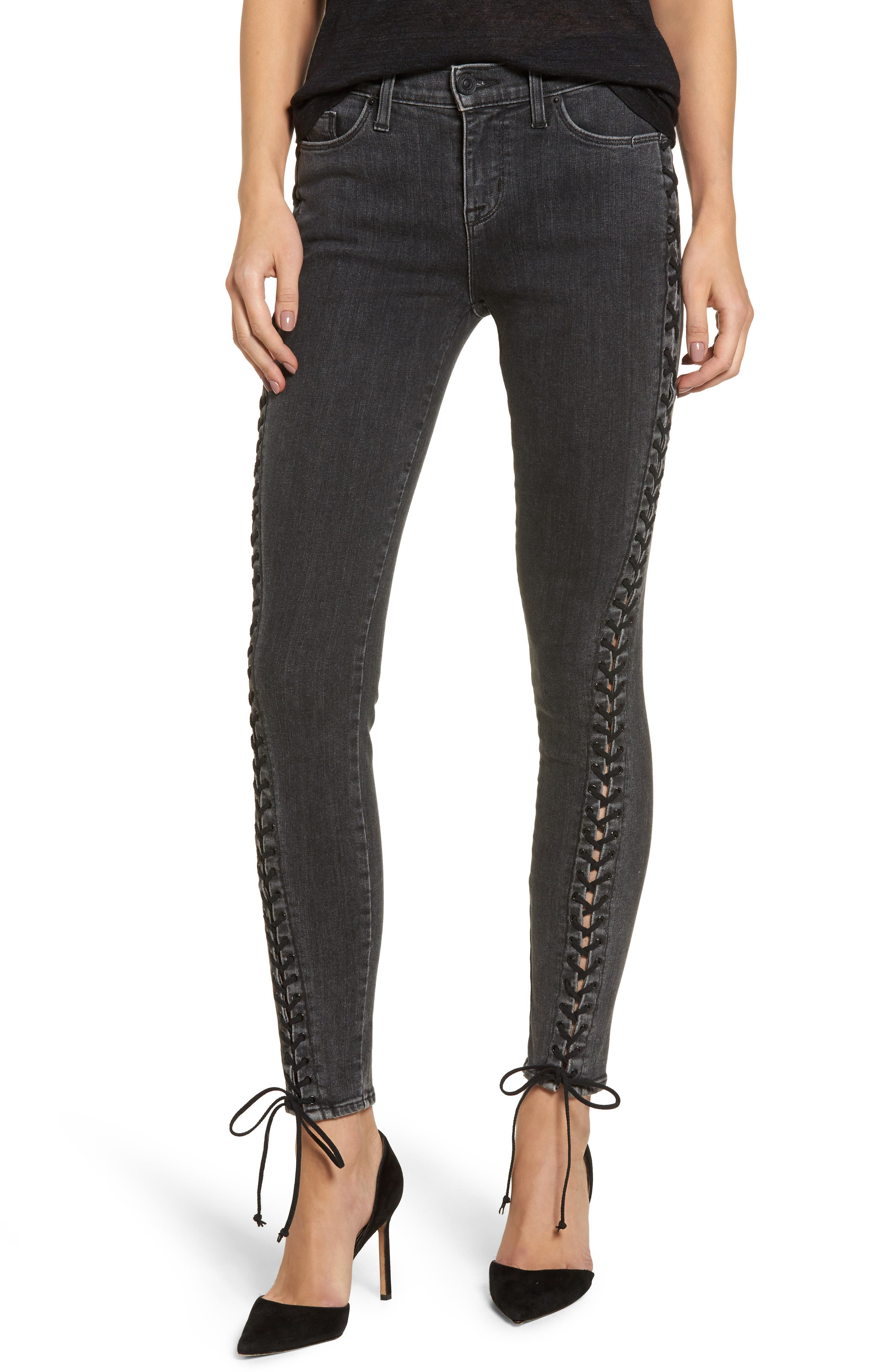 Stevie Lace-Up Skinny Jeans,                             Main thumbnail 1, color,