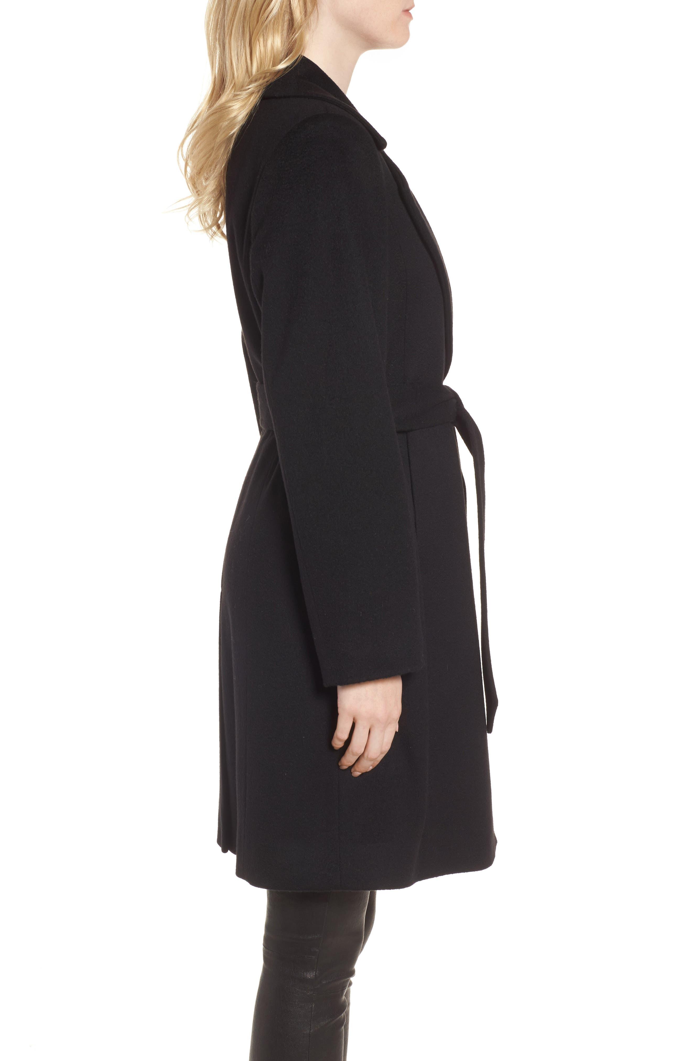 Notch Collar Cashmere Wrap Coat,                             Alternate thumbnail 3, color,                             001
