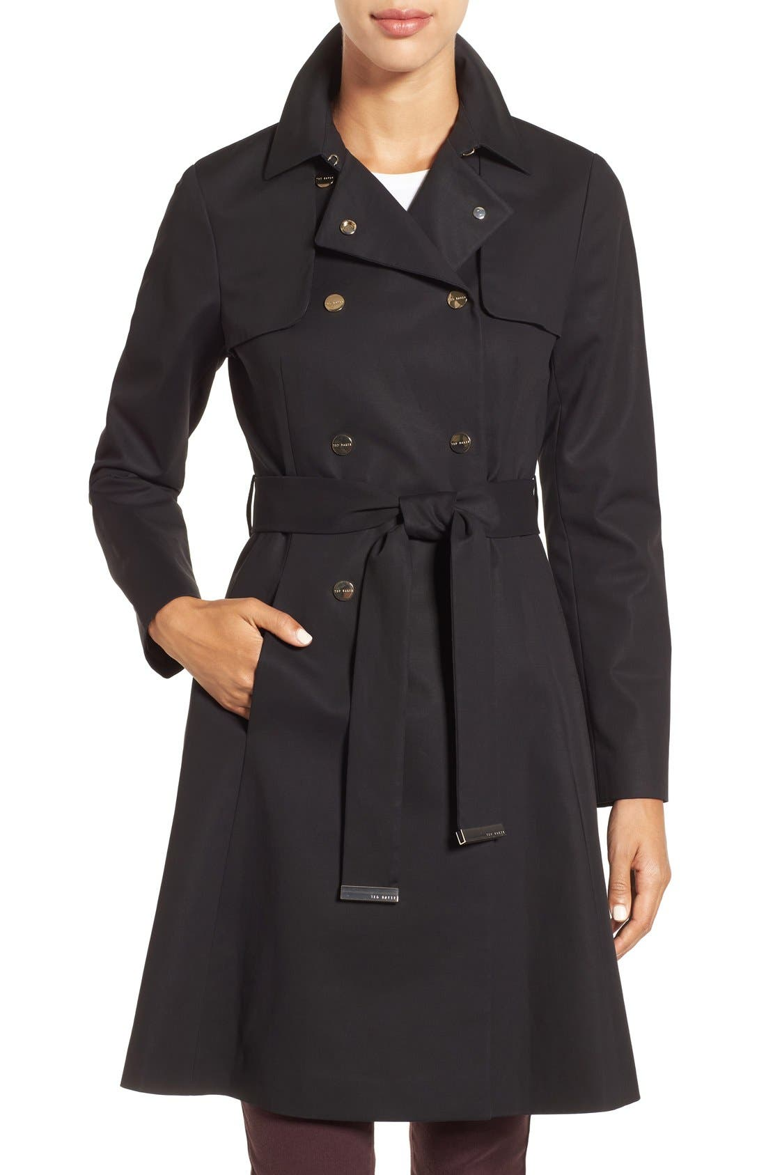 Double Breasted Trench Coat,                         Main,                         color, 001