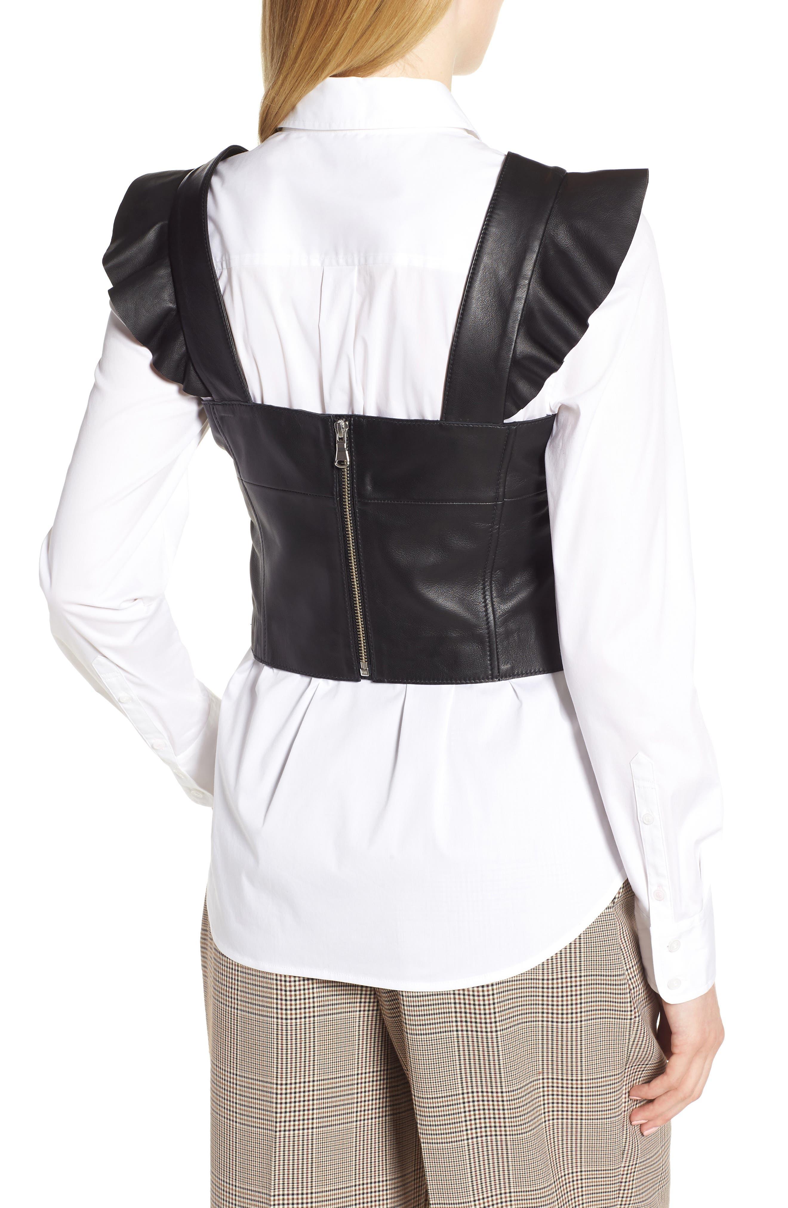 Flutter Sleeve Leather Bustier,                             Alternate thumbnail 3, color,                             BLACK