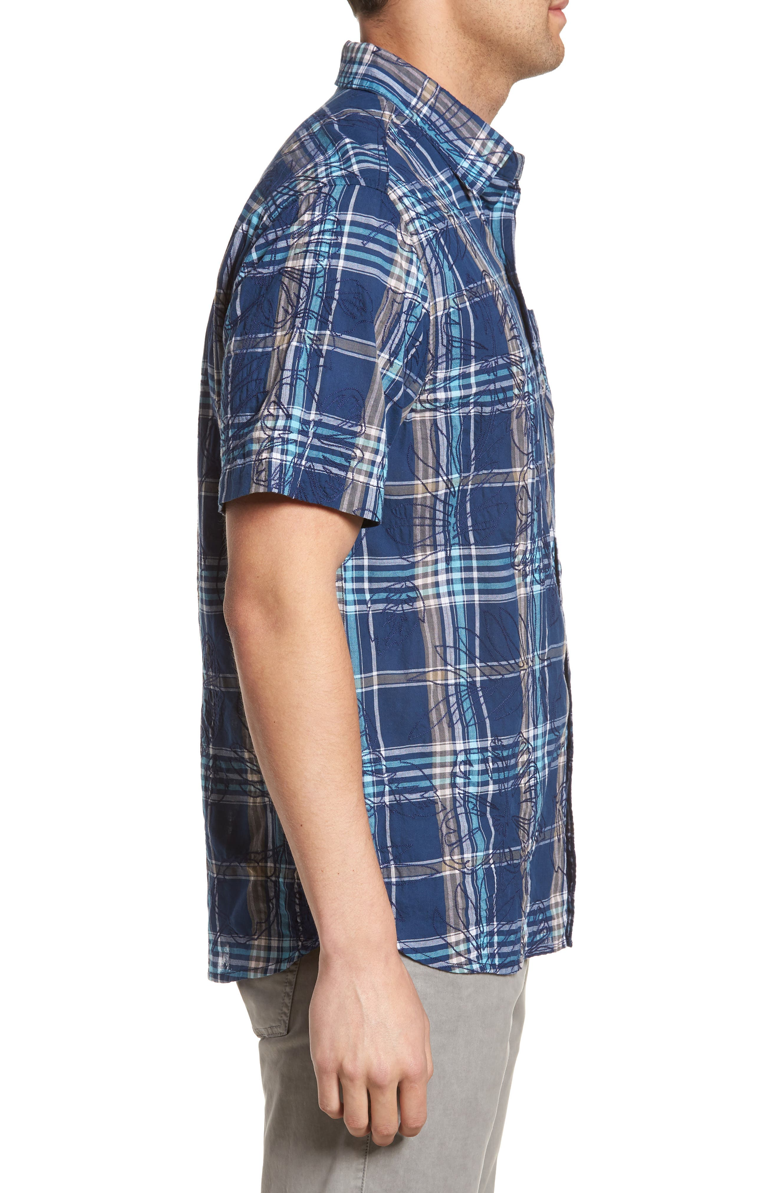 Palazzo Regular Fit Plaid Sport Shirt,                             Alternate thumbnail 3, color,                             400