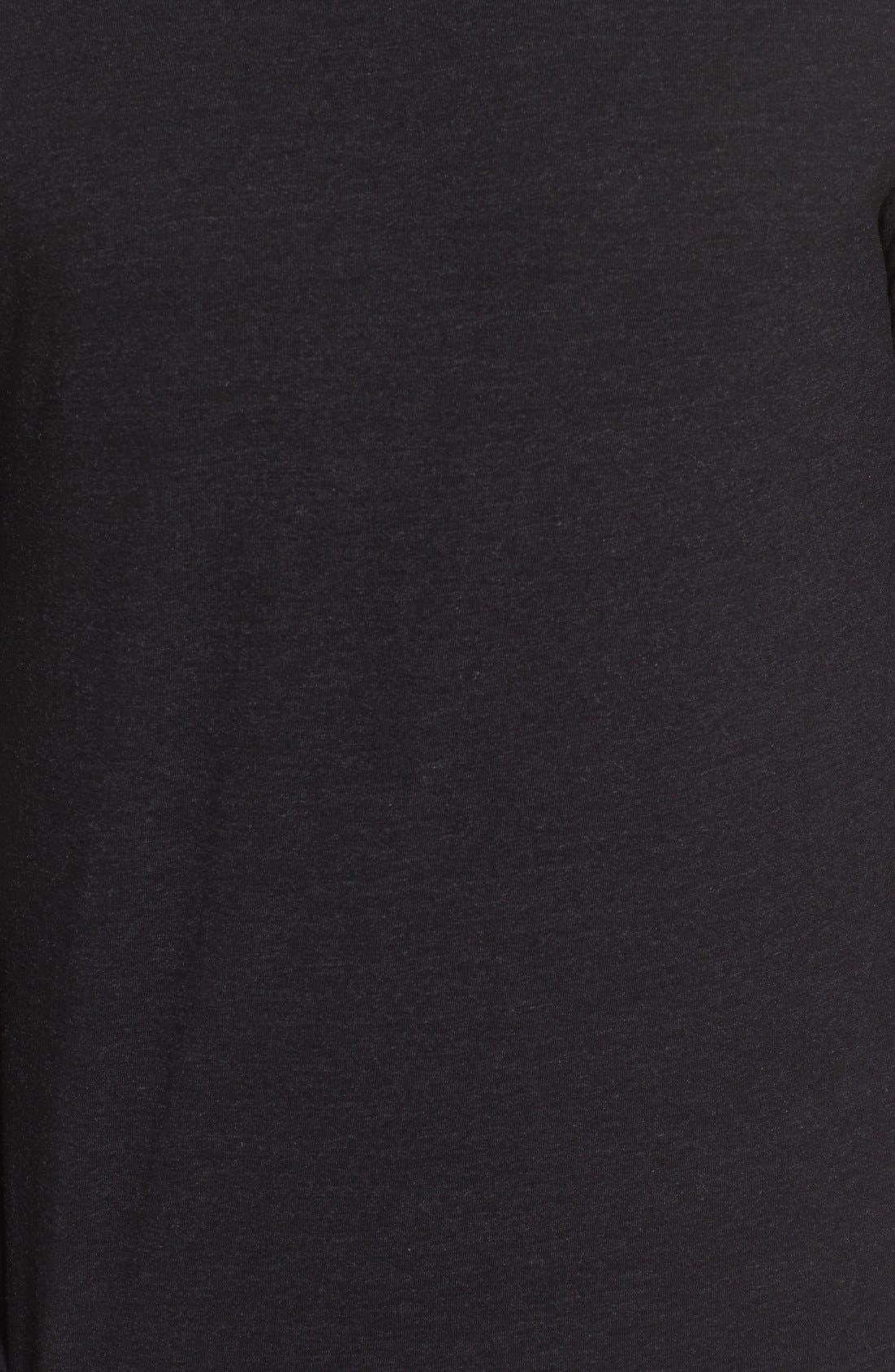 Triblend Scallop Long Sleeve Crewneck T-Shirt,                             Alternate thumbnail 3, color,                             BLACK