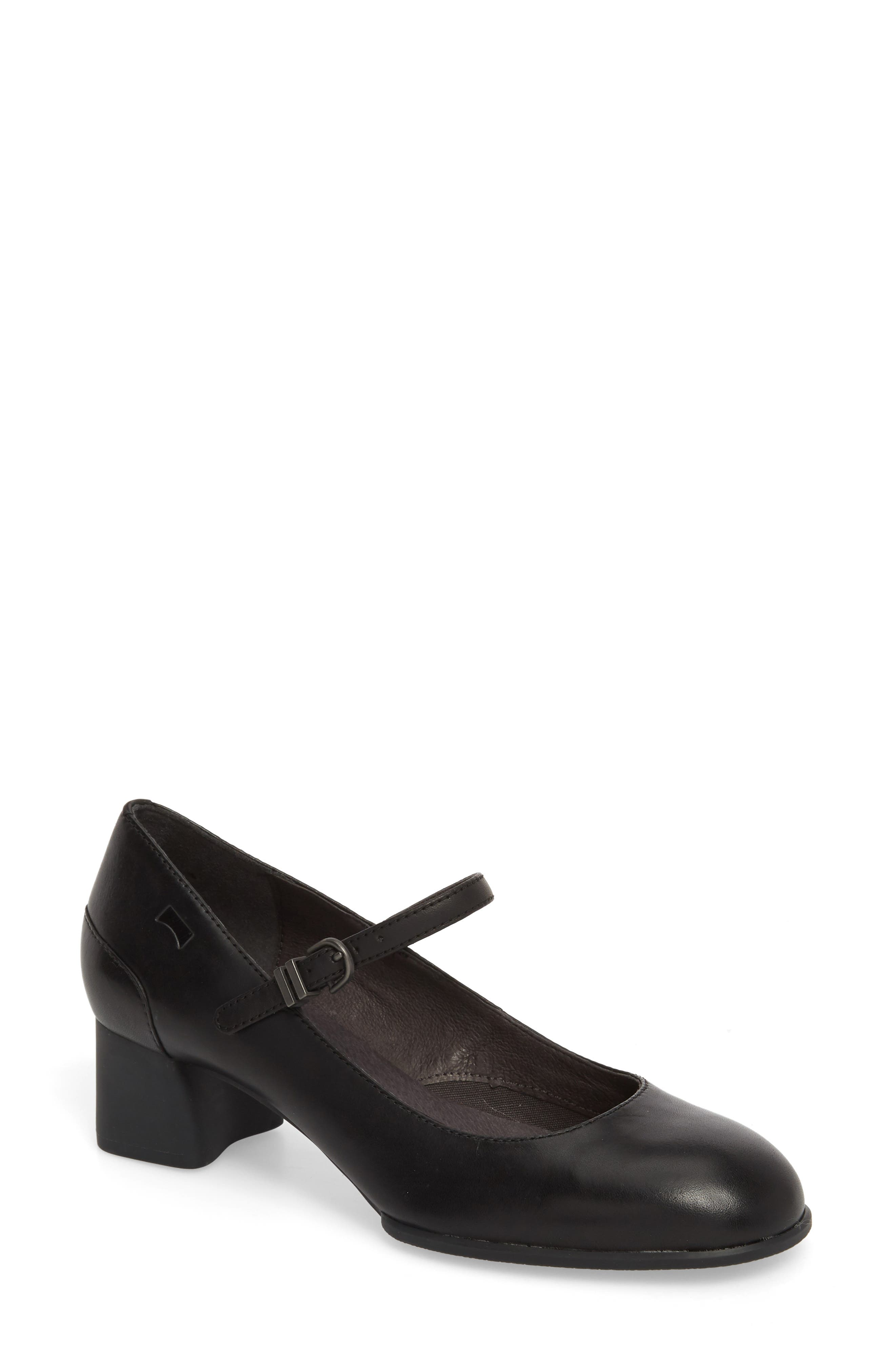 Katie Mary Jane Pump,                             Main thumbnail 1, color,                             BLACK LEATHER