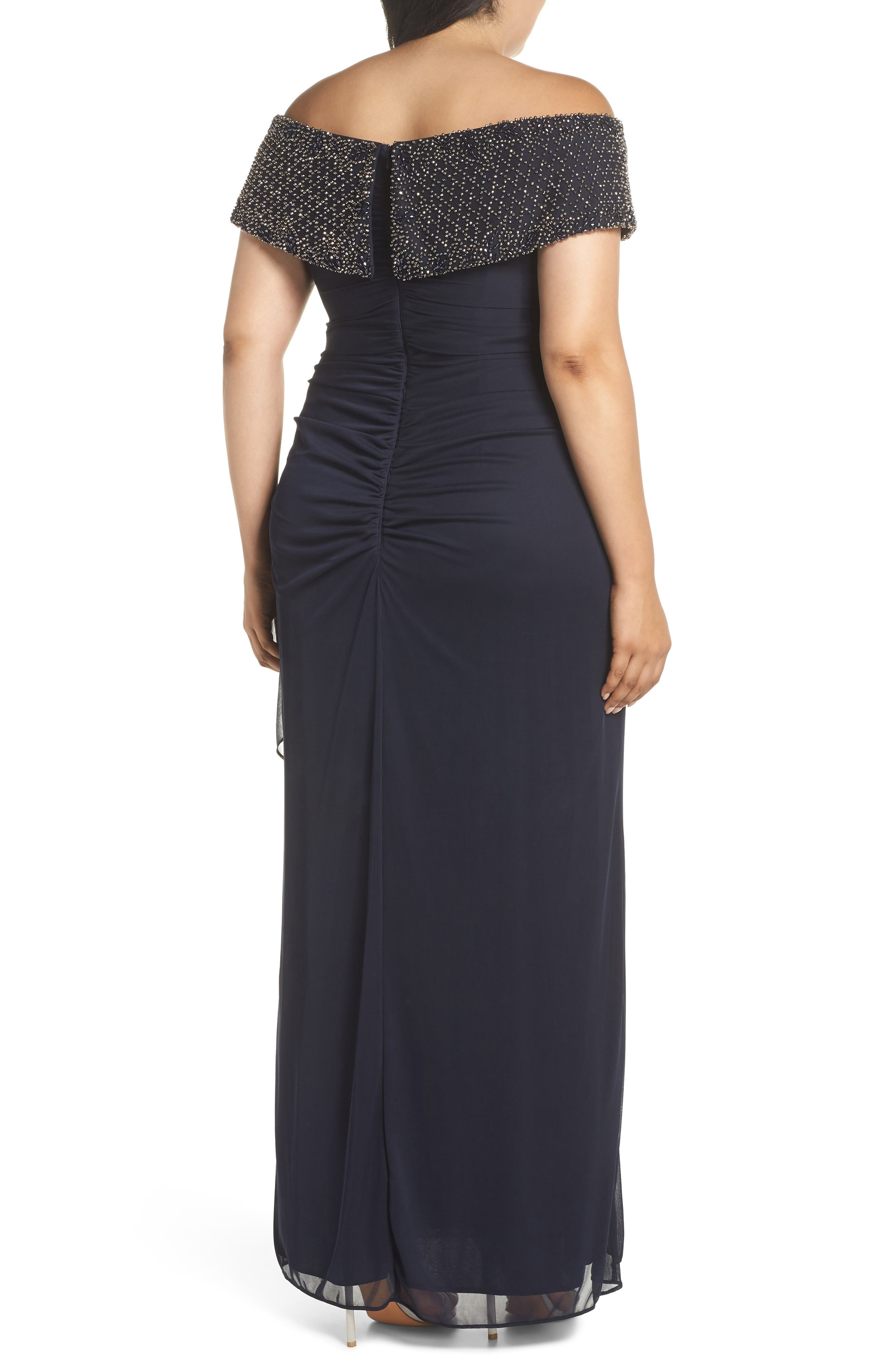Beaded Off the Shoulder Gown,                             Alternate thumbnail 2, color,                             NAVY/ GUNMETAL