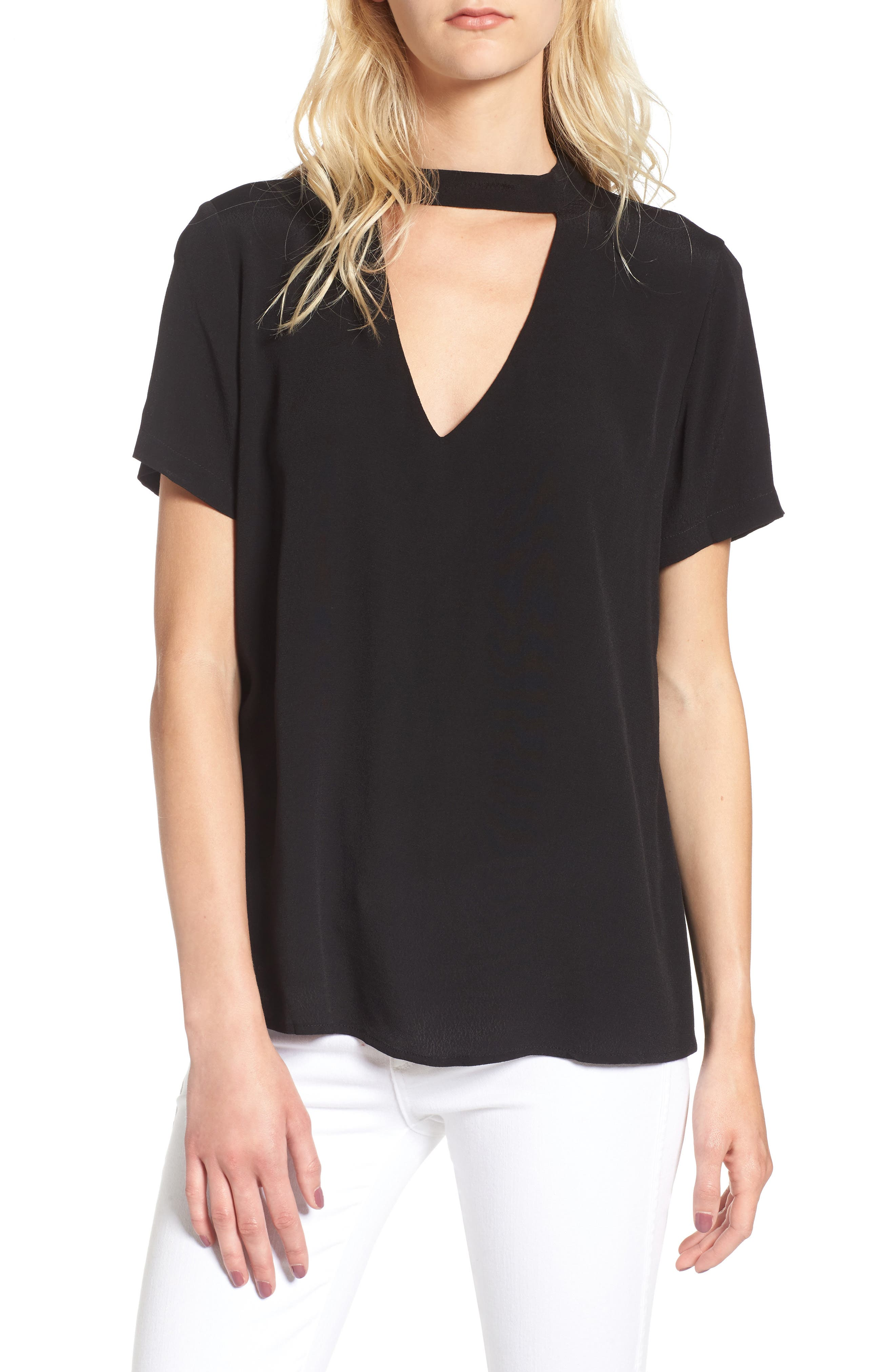 Band Neck Top,                         Main,                         color, 001