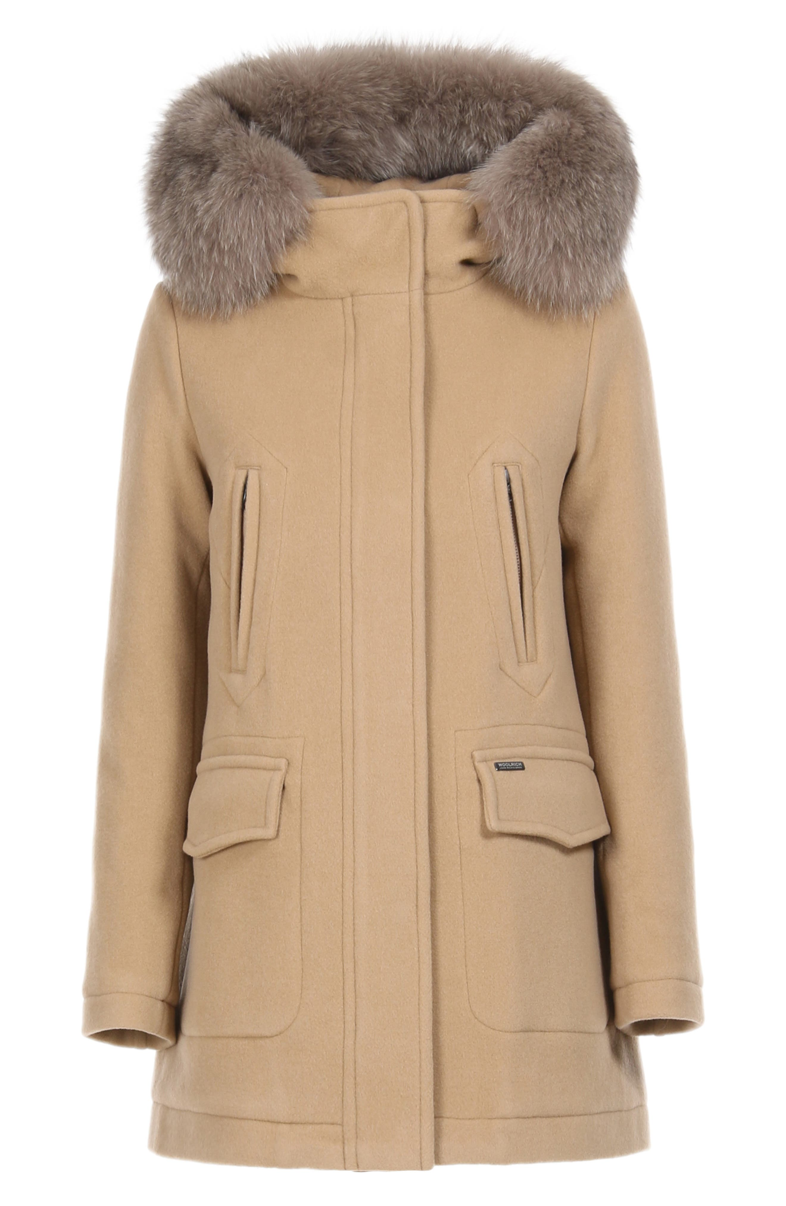 McKenzie Coat with Genuine Fox Fur Trim,                             Alternate thumbnail 7, color,                             CAMEL