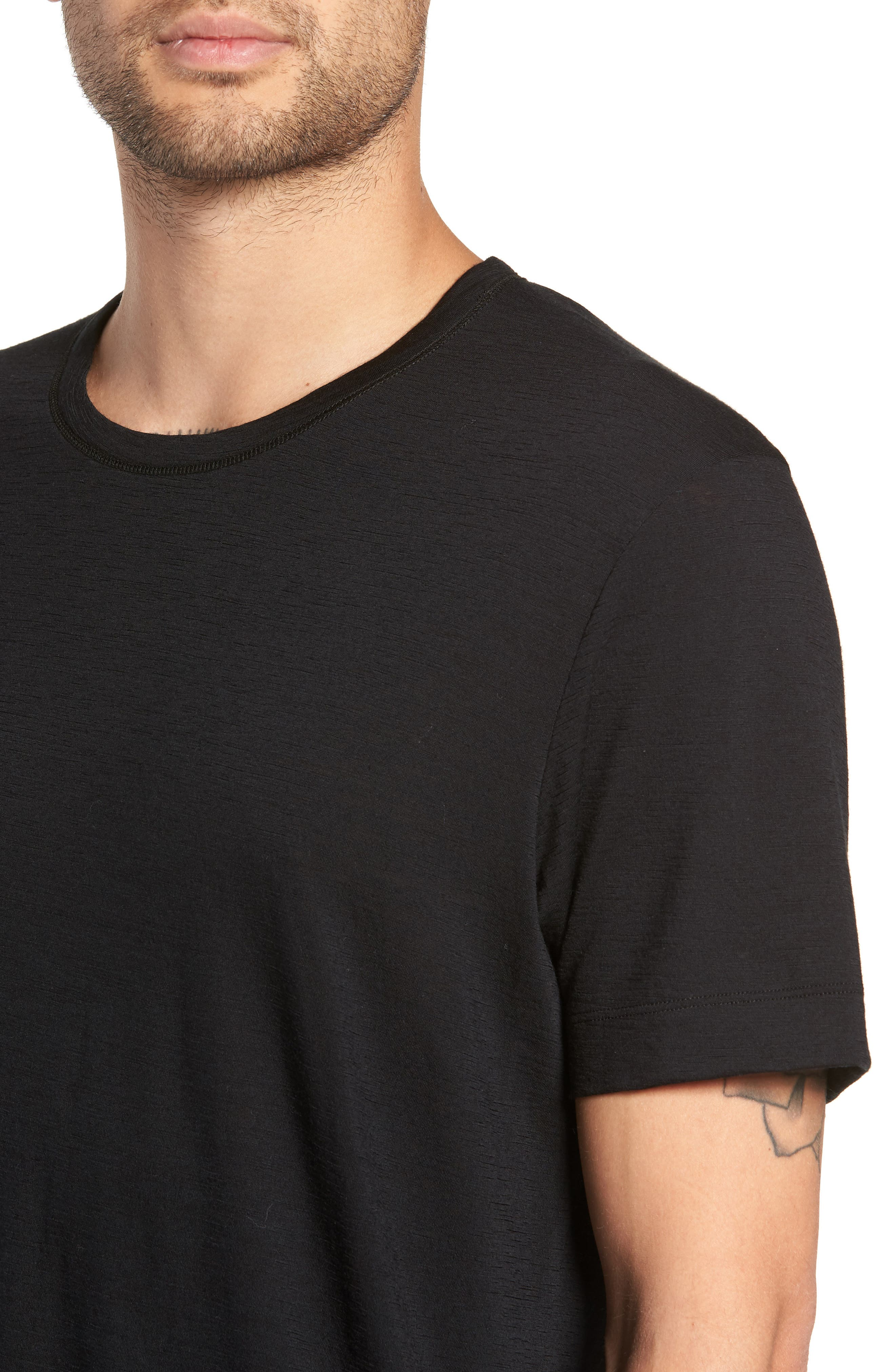 Swedish Merino Wool T-Shirt,                             Alternate thumbnail 4, color,                             BLACK