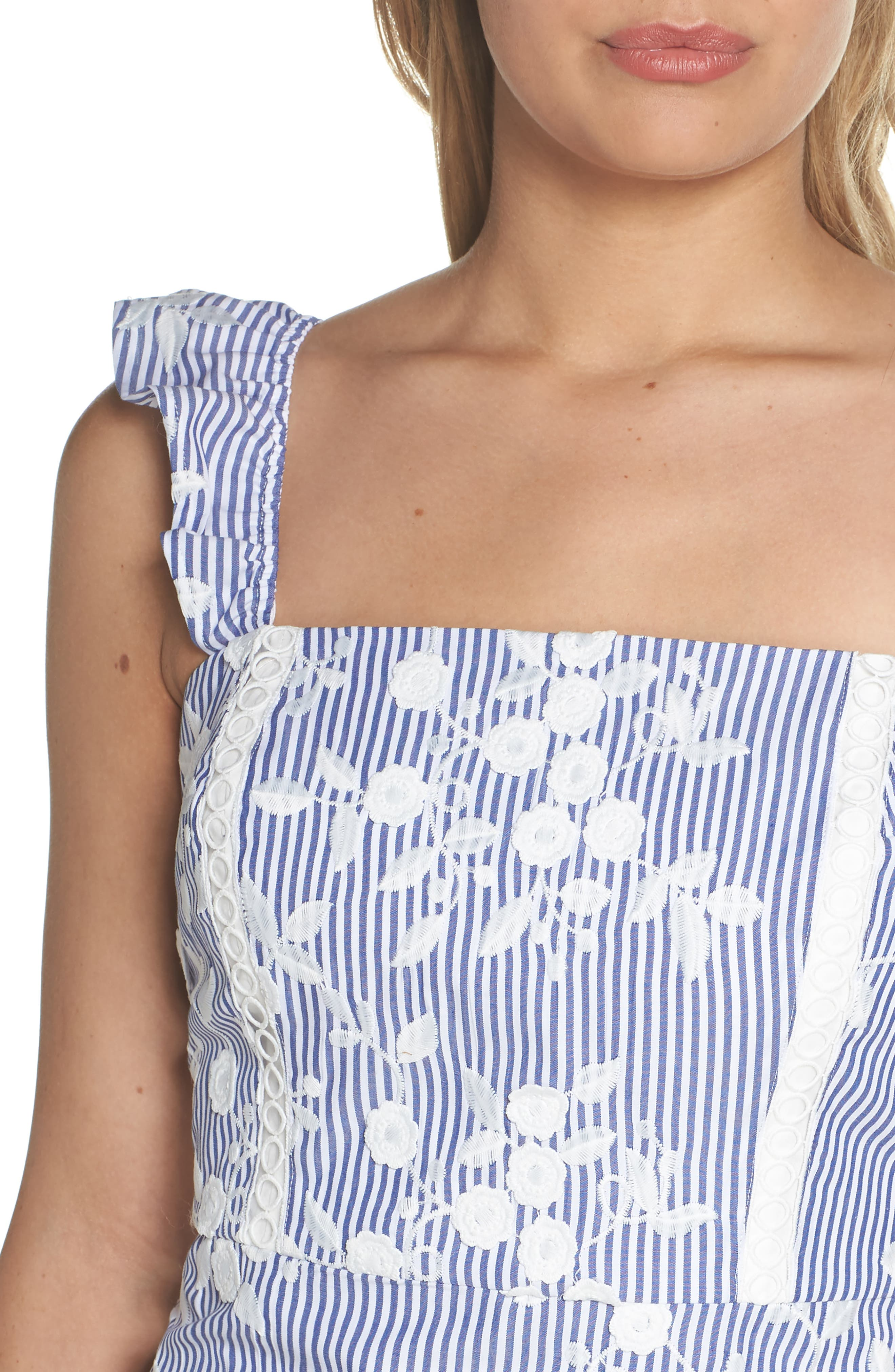 Embroidered Ruffle Hem Sundress,                             Alternate thumbnail 4, color,                             WHITE/ BLUE