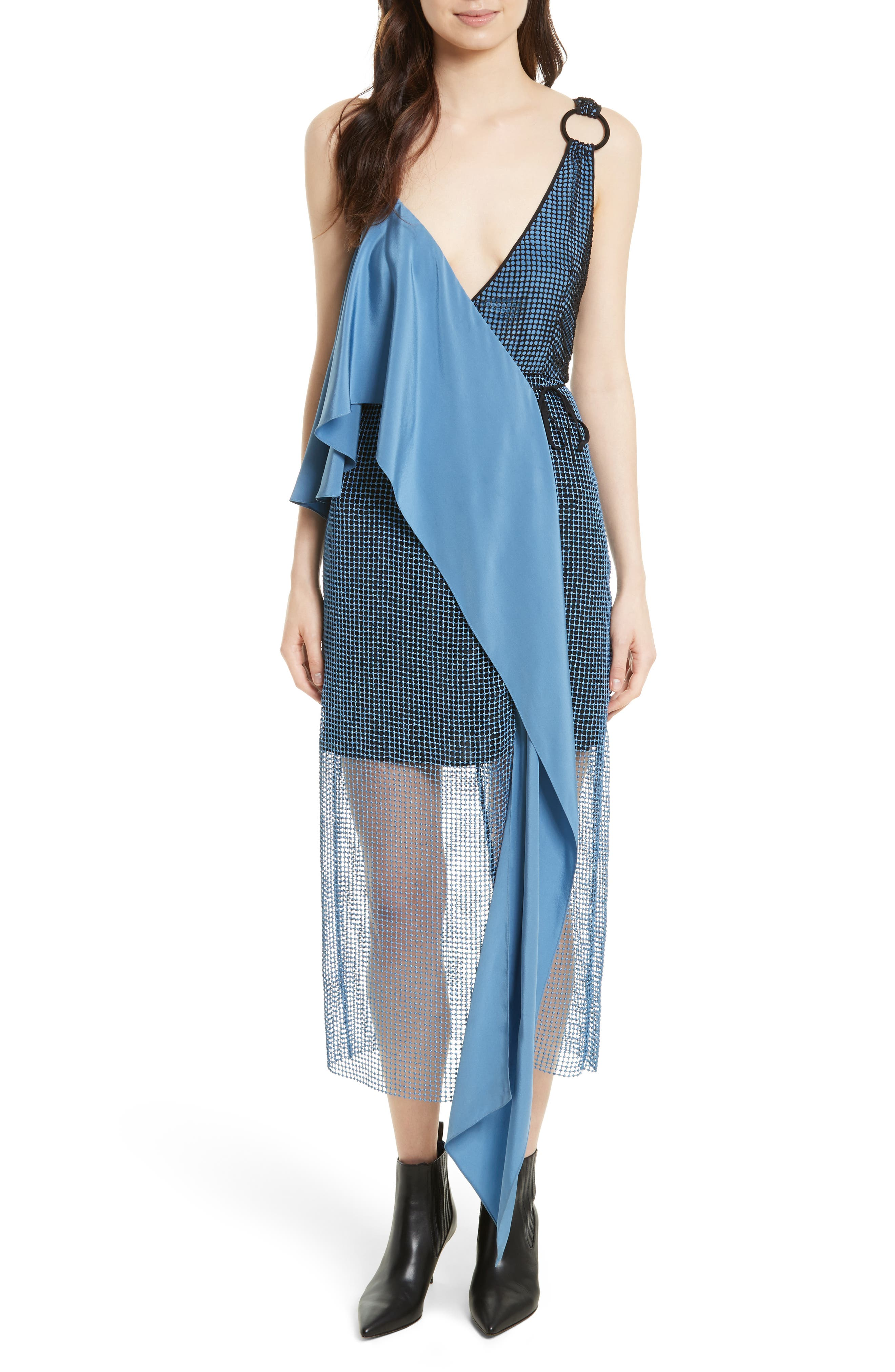 Asymmetrical Sash Dress,                             Main thumbnail 1, color,                             424
