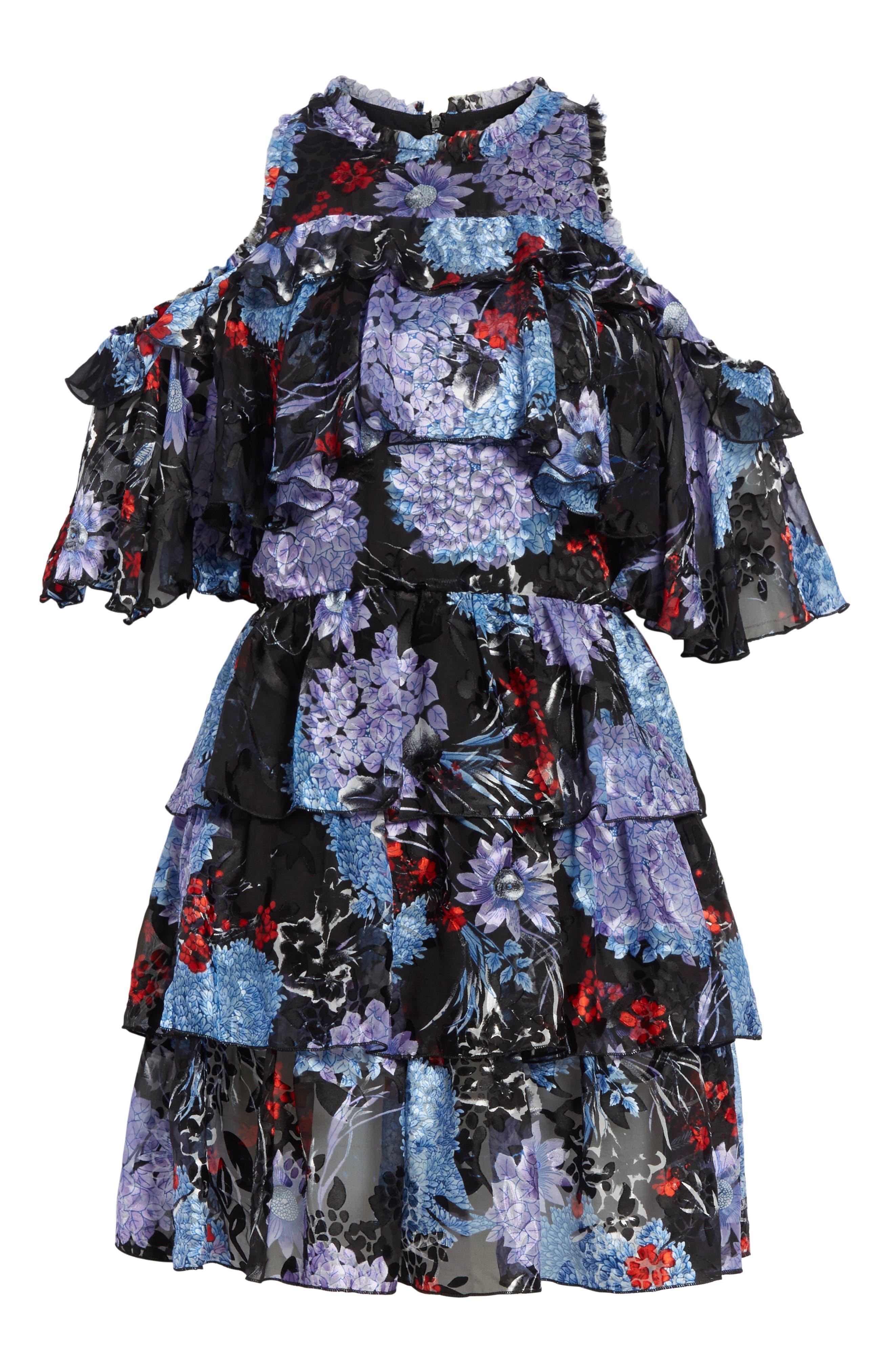 Nichola Cold Shoulder Floral Dress,                             Alternate thumbnail 6, color,                             560